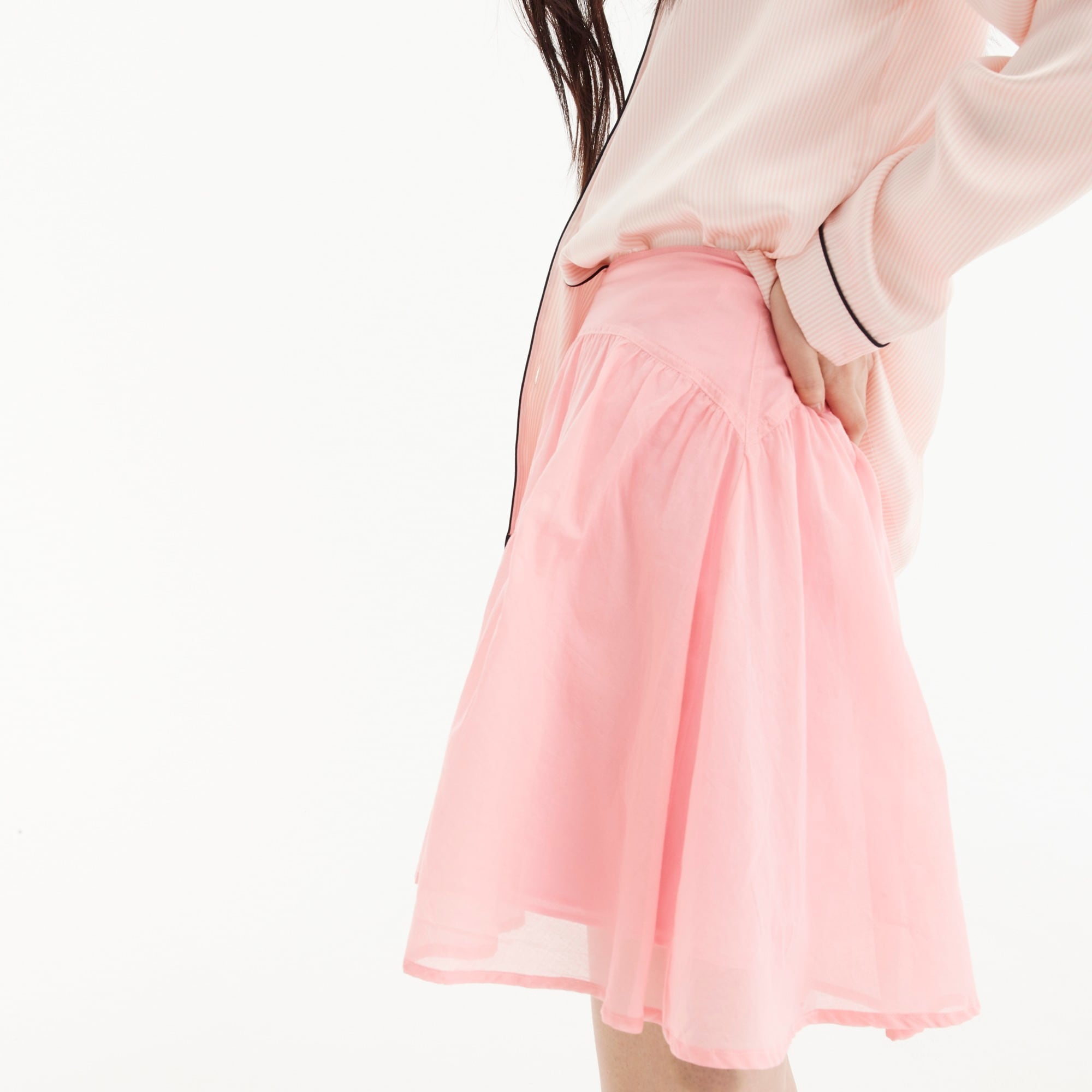 Petite tiered cotton voile mini skirt