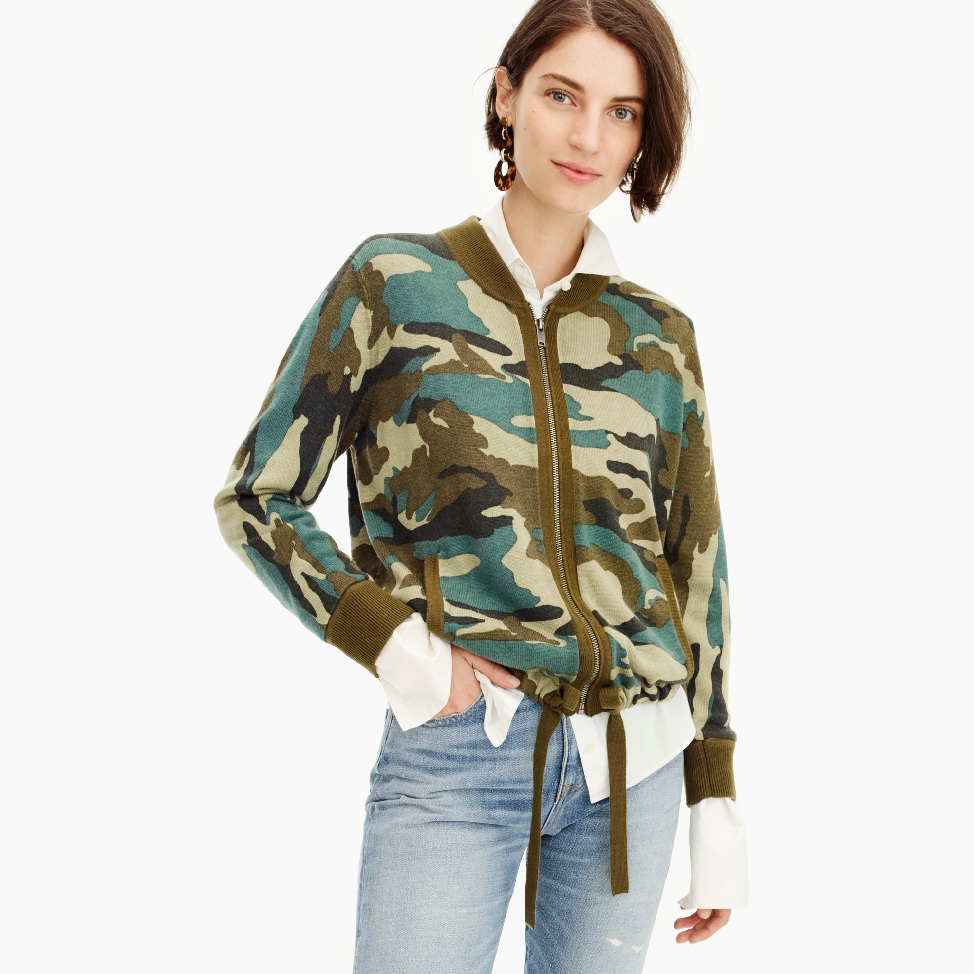 womens Knit bomber sweater in camo