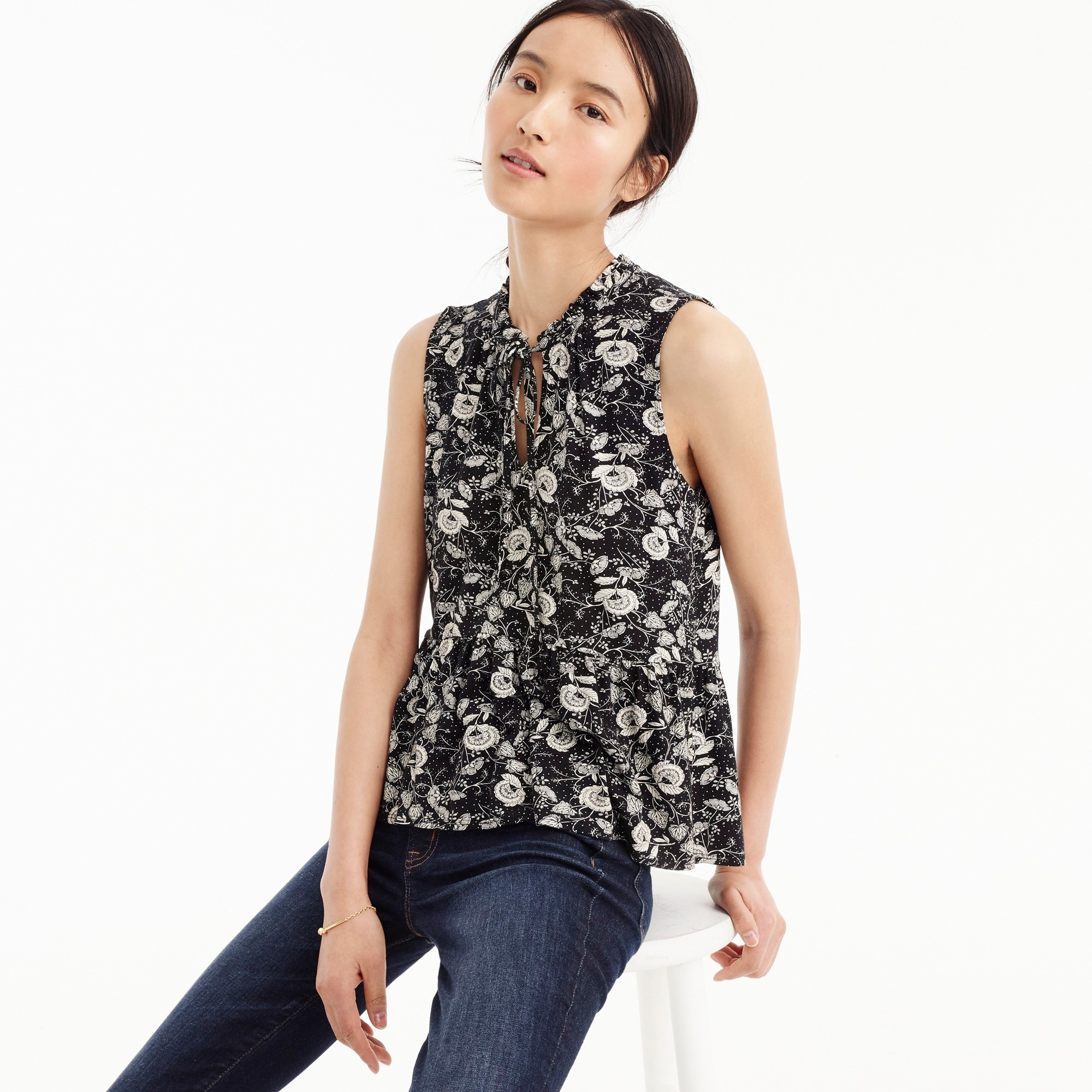 Ruffle-trimmed tie-front top in floral women shirts & tops c