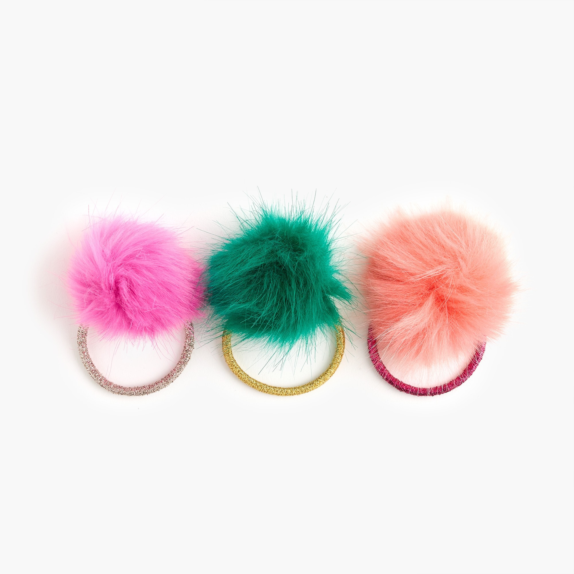 Girls' pom-pom ponytail holders three-pack girl jewelry & accessories c