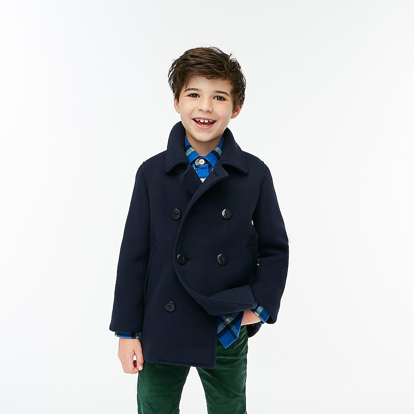 j.crew factory: boys' peacoat, right side, view zoomed
