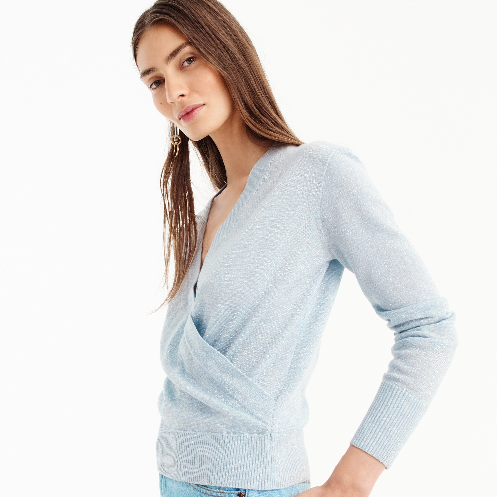 Lurex® wrap sweater