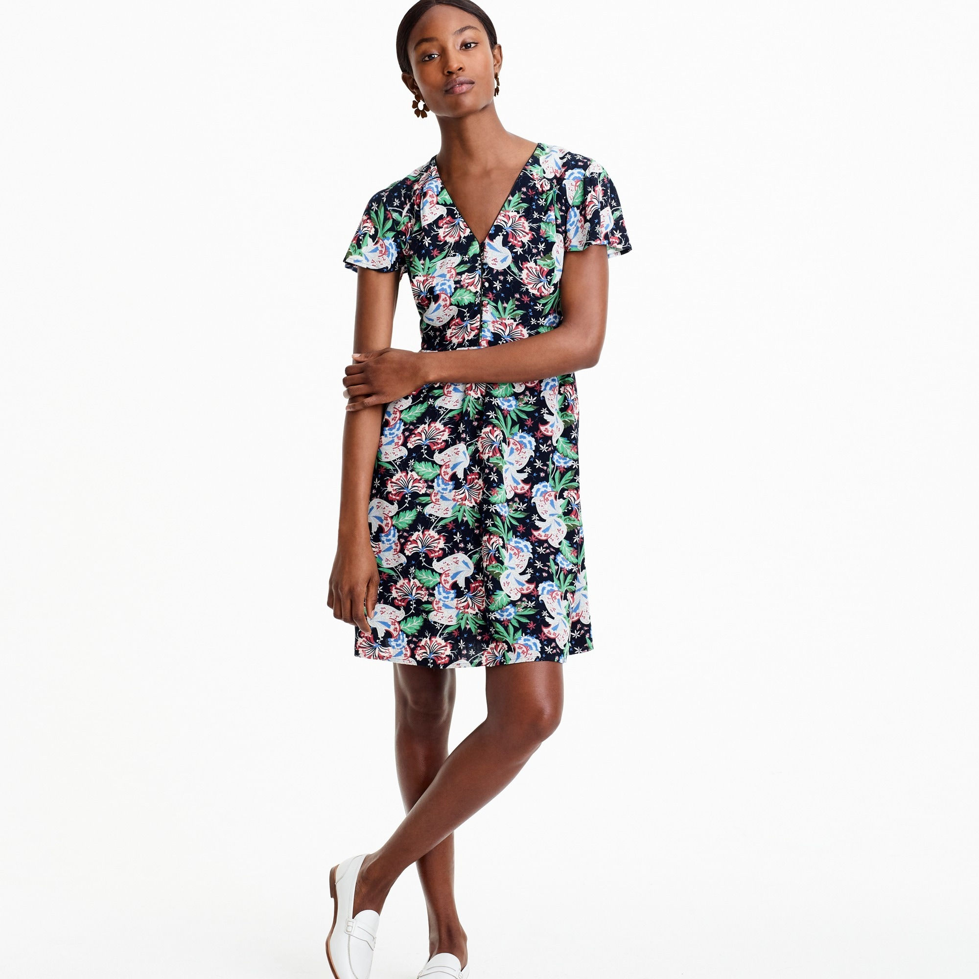womens Short-sleeve button-front dress in island floral