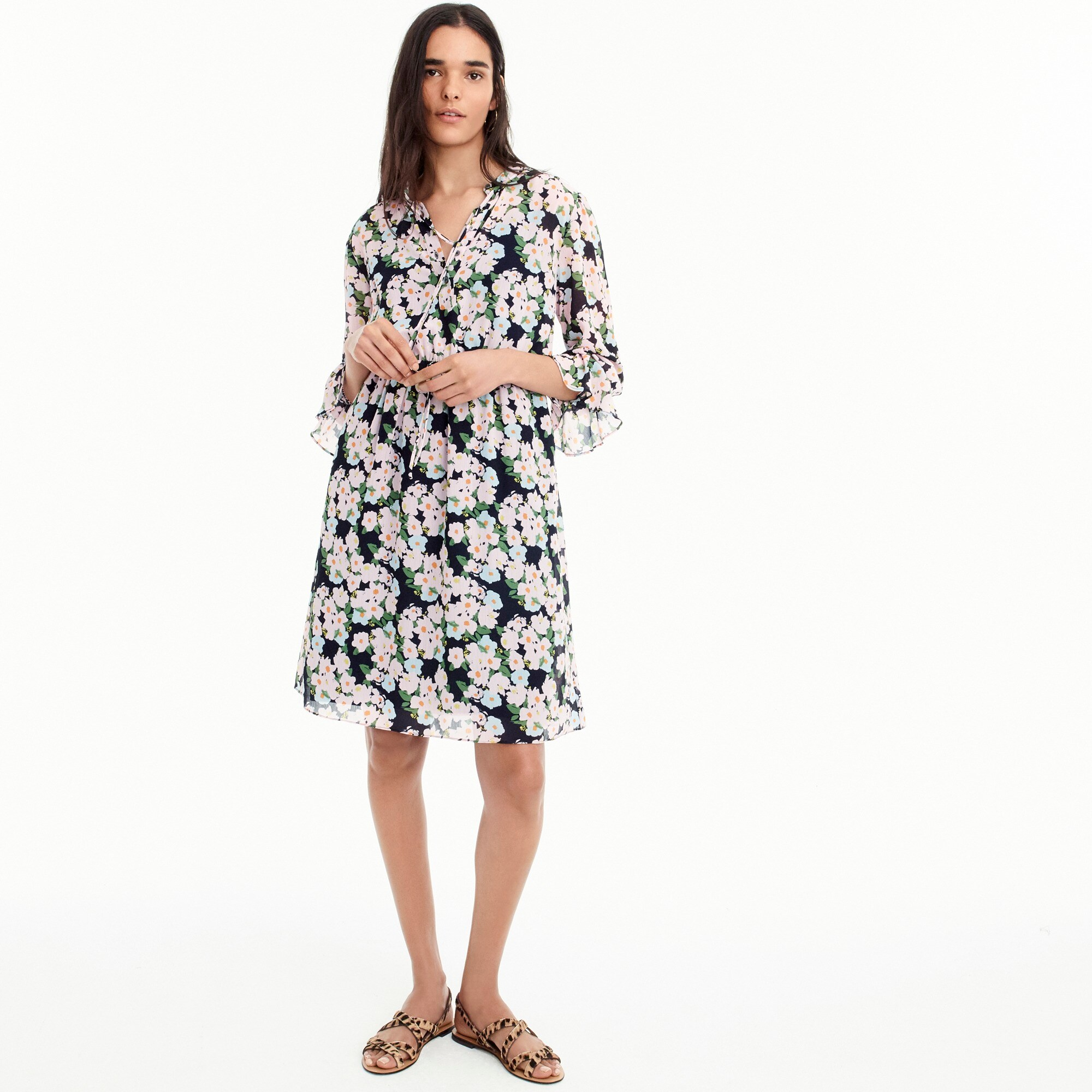 Tall J.Crew Mercantile drapey tie-front dress in French floral