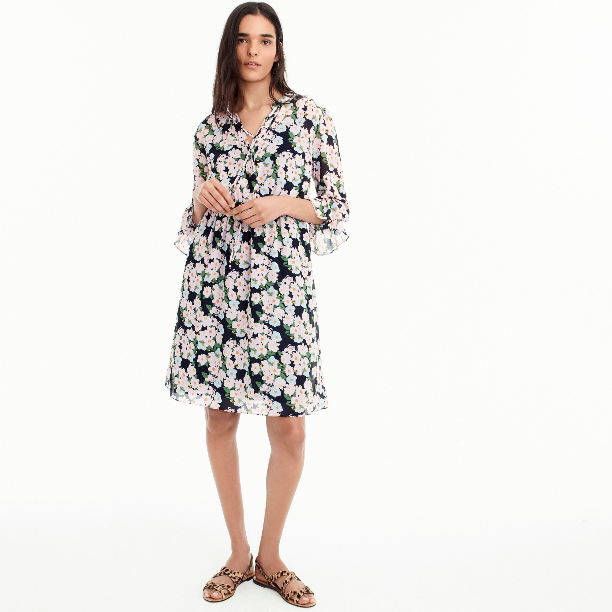 Image 2 for Petite J.Crew Mercantile drapey tie-front dress in French floral