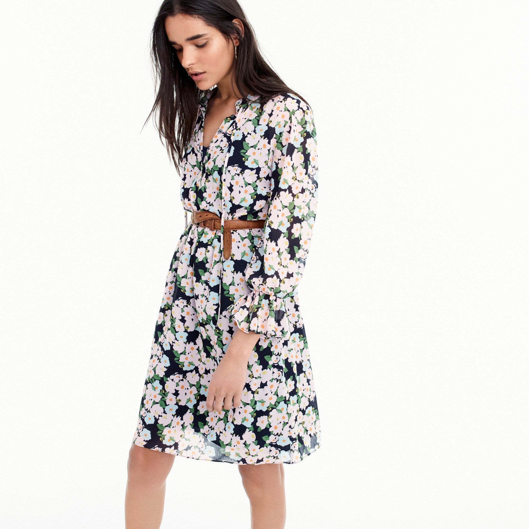 women's tall j.crew mercantile drapey tie-front dress in french floral - women's casual dresses