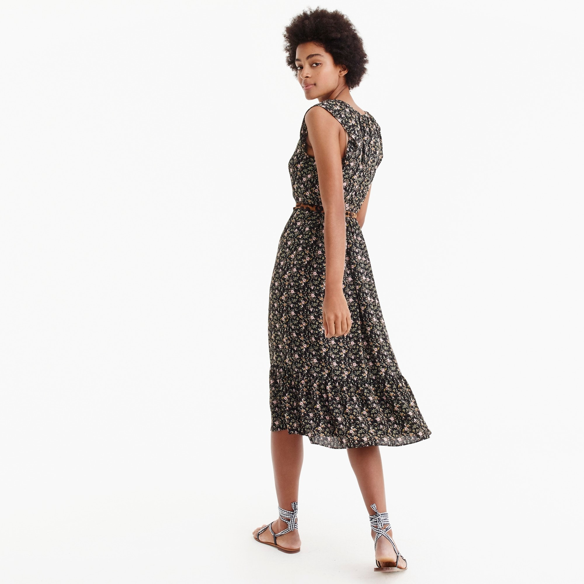 J.Crew Mercantile cap-sleeve midi dress in superbloom