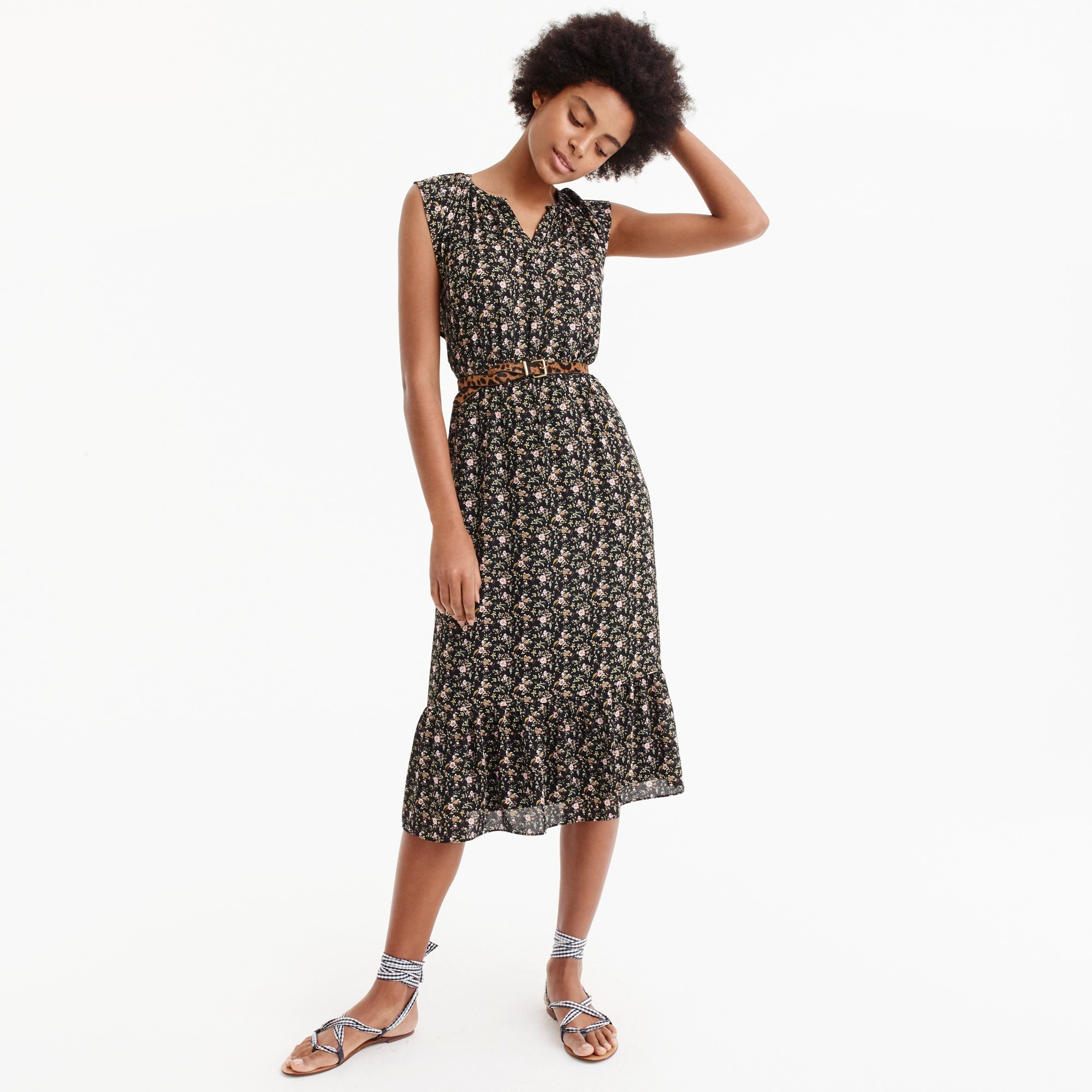 womens J.Crew Mercantile cap-sleeve midi dress in superbloom