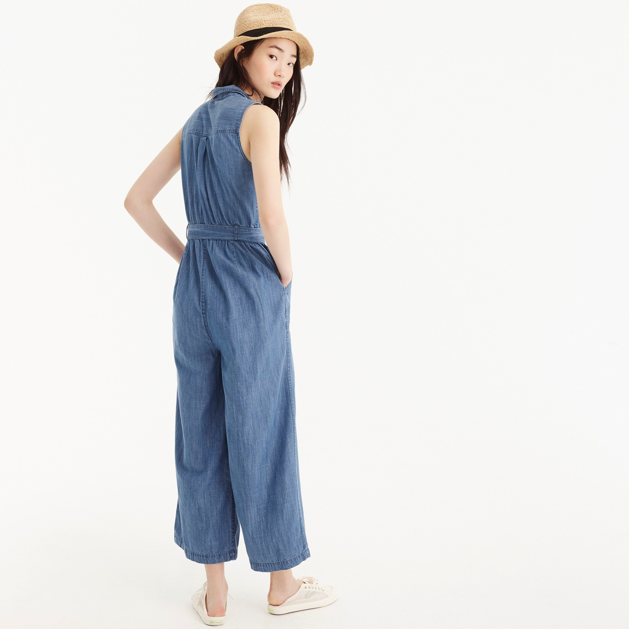 Petite Point Sur zip-front chambray jumpsuit