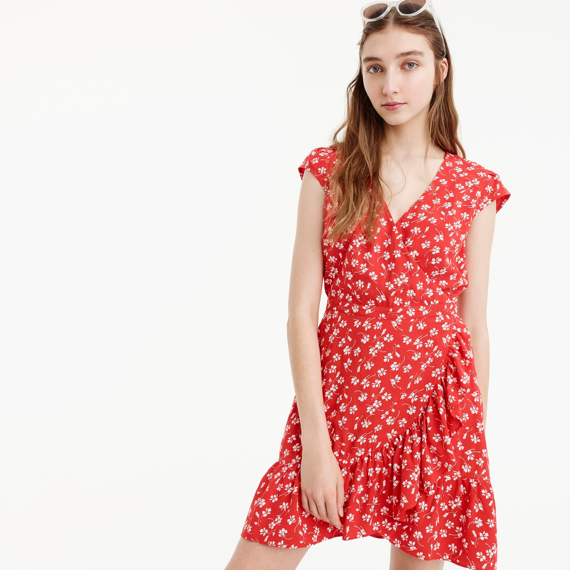 Image 3 for J.Crew Mercantile faux-wrap mini dress in fresh daisies