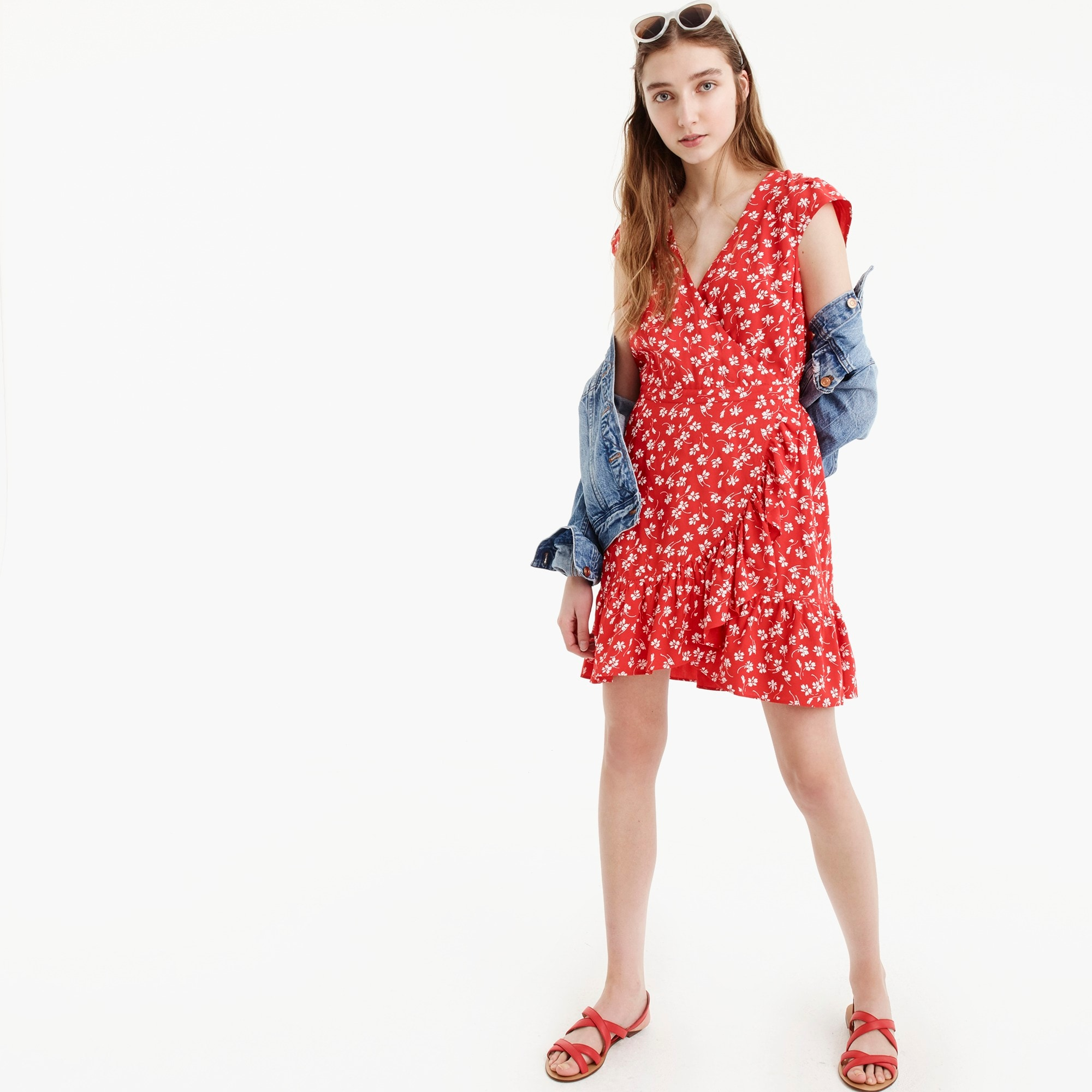 J.Crew Mercantile faux-wrap mini dress in fresh daisies