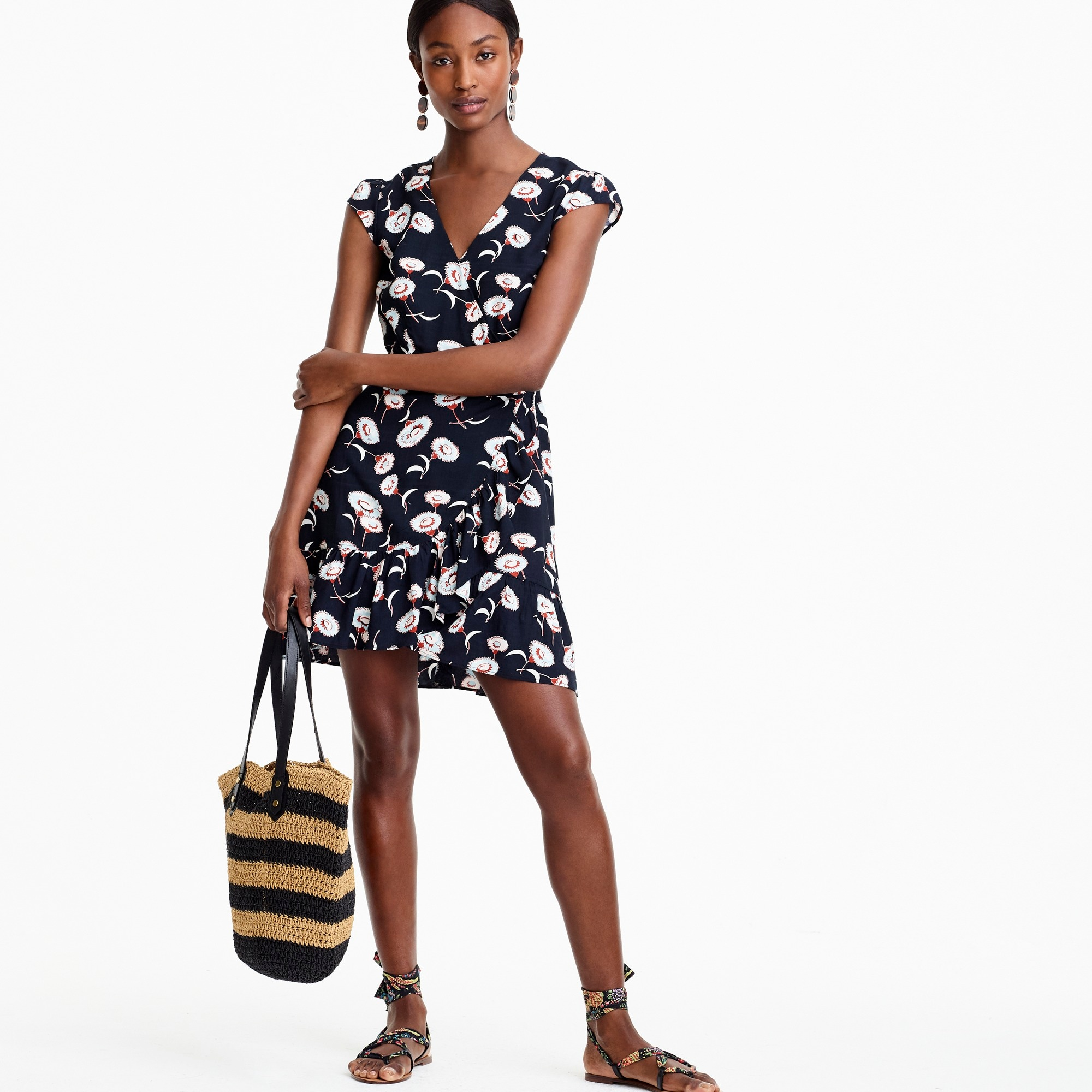 J.Crew Mercantile faux-wrap mini dress in floating floral women dresses c