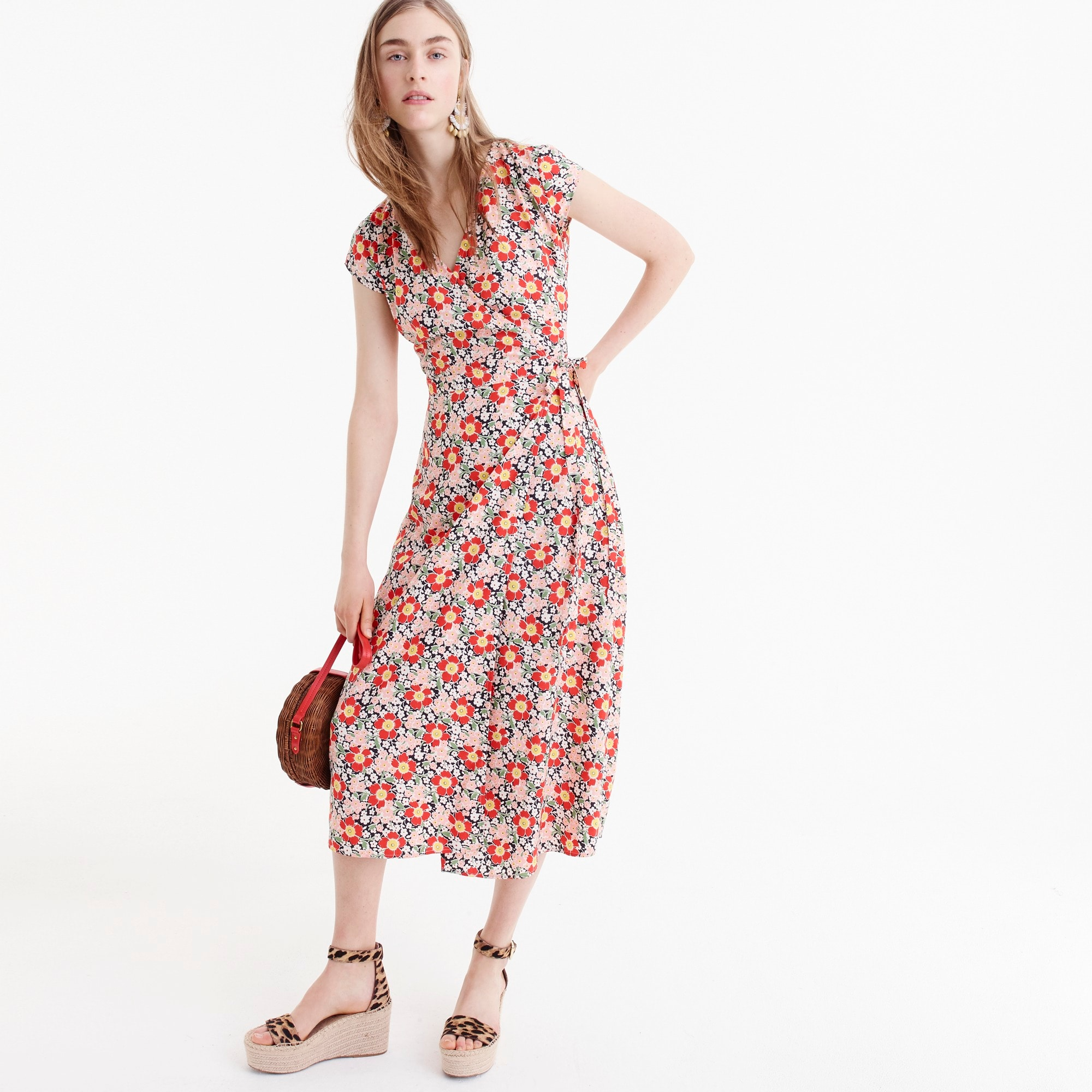 J.Crew Mercantile easy wrap dress in seventies floral women dresses c