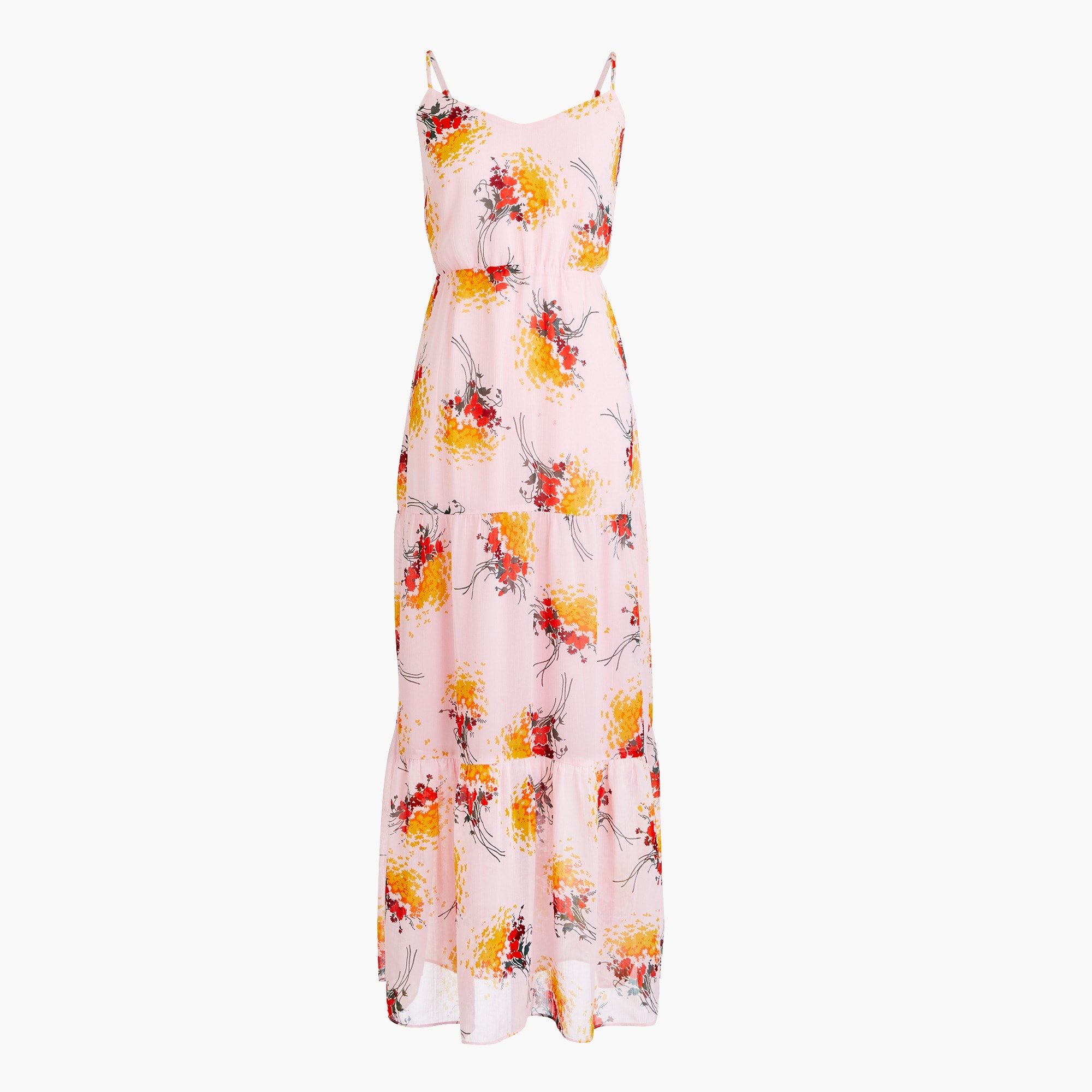 women's tall j.crew mercantile tiered maxi dress in sunburst bouquet print - women's casual dresses