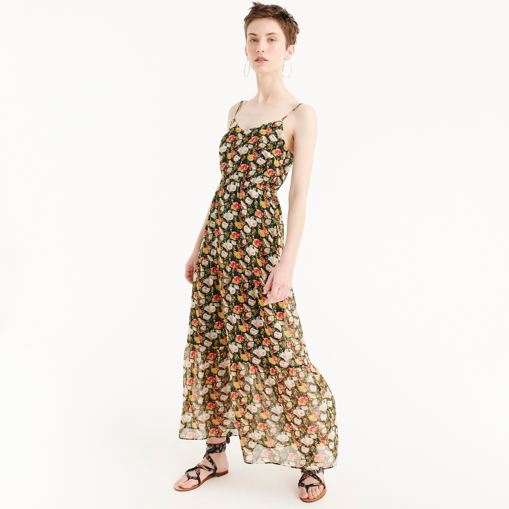 J.Crew Mercantile tiered maxi dress in sweet pea floral women dresses c