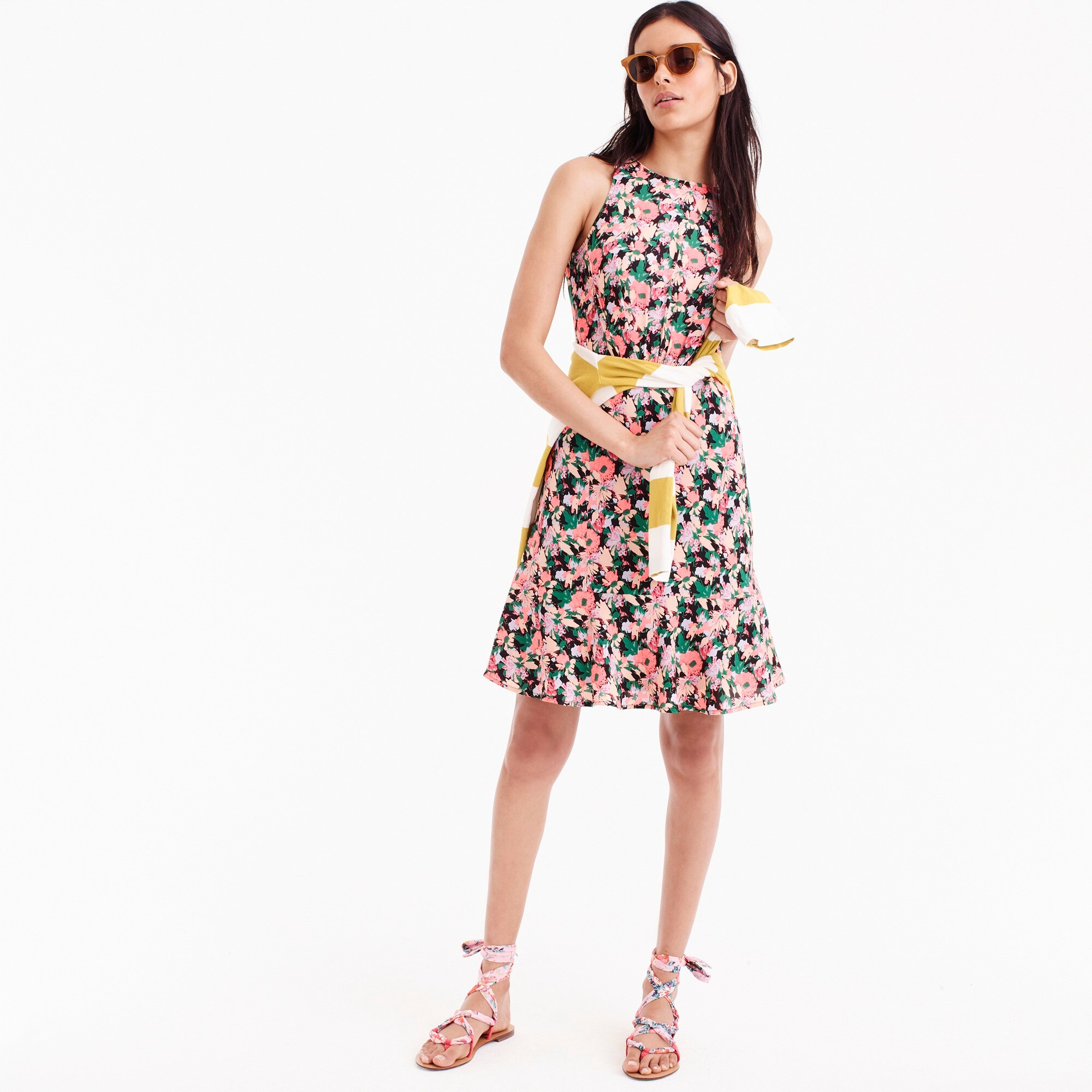 Drapey ruched-waist dress in neon floral women dresses c