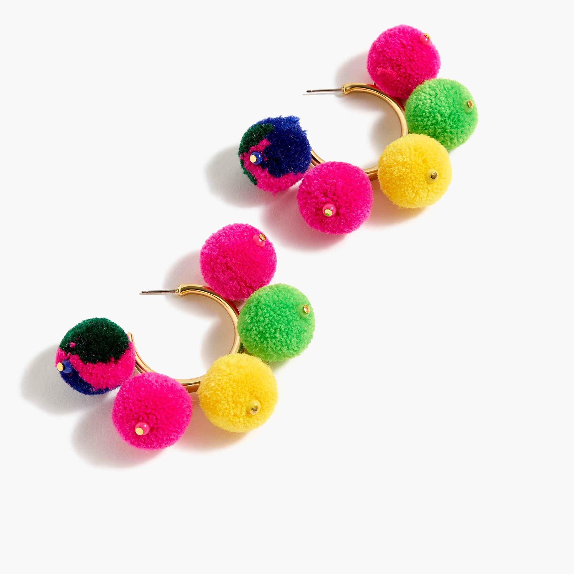 Image 1 for Pom-pom hoop earrings