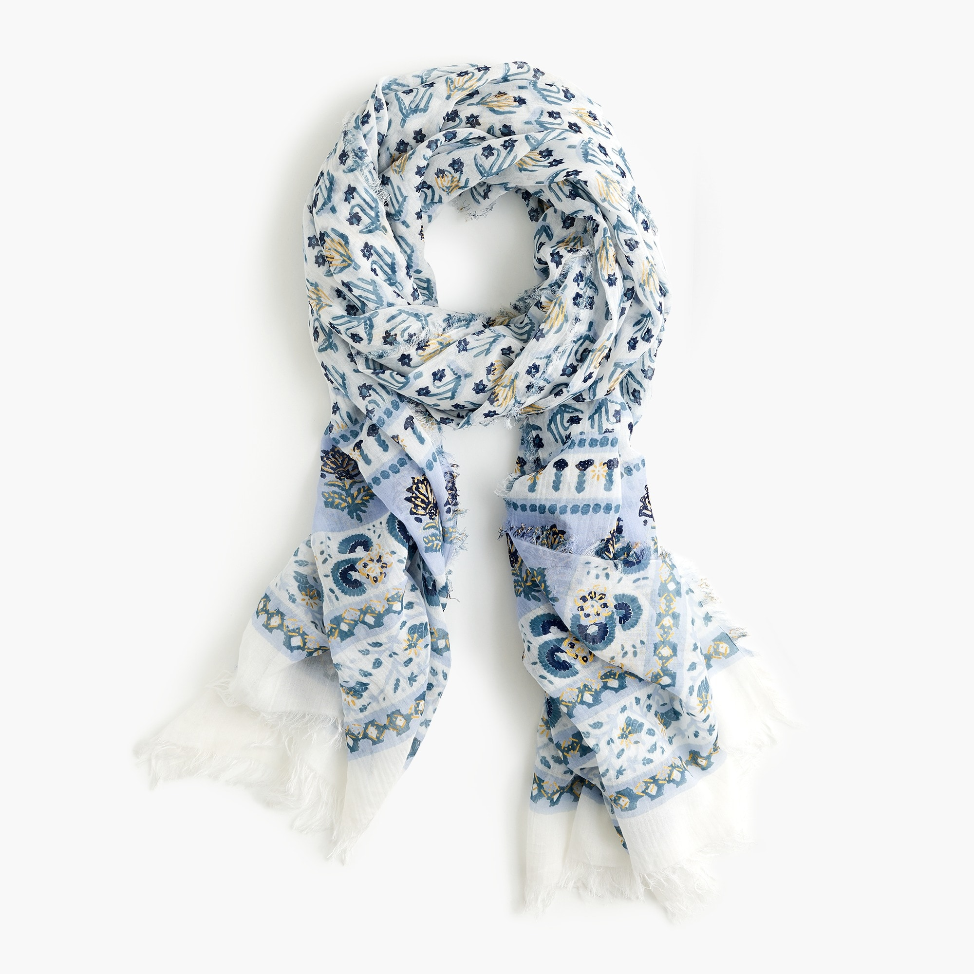 Lightweight cotton scarf in calypso block print women accessories c