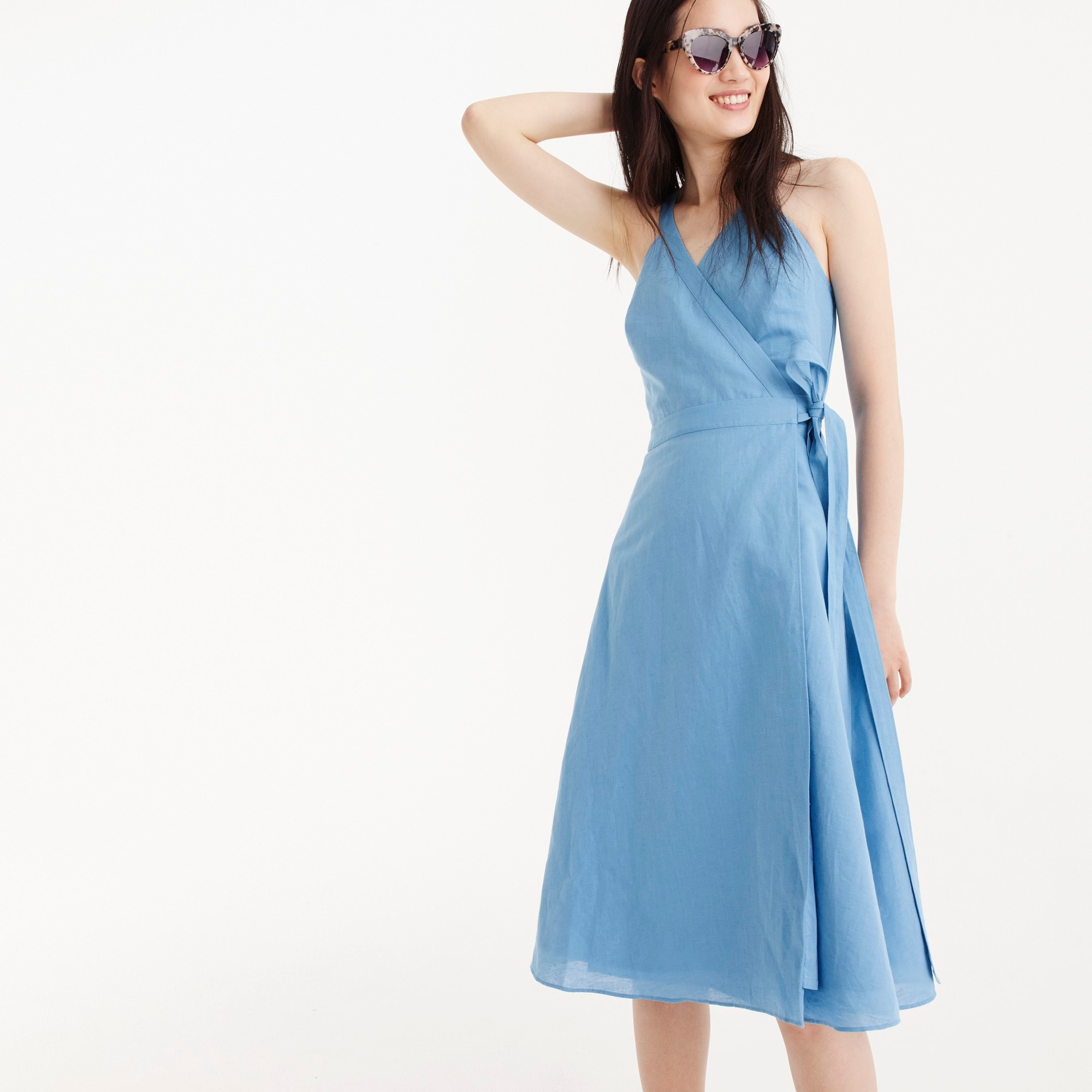 Linen wrap dress women dresses c