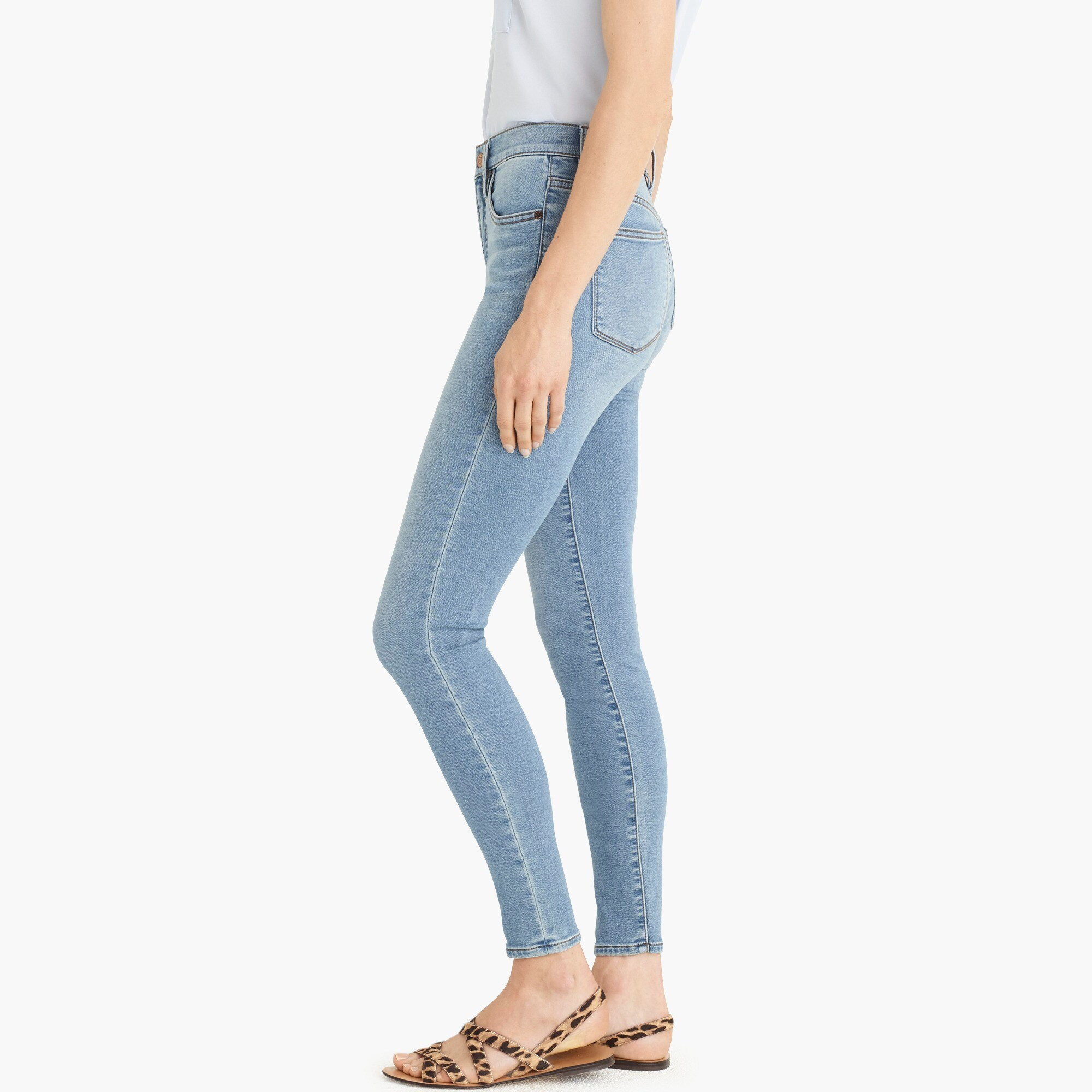"Petite9"" high-rise jeggings in light blue wash"