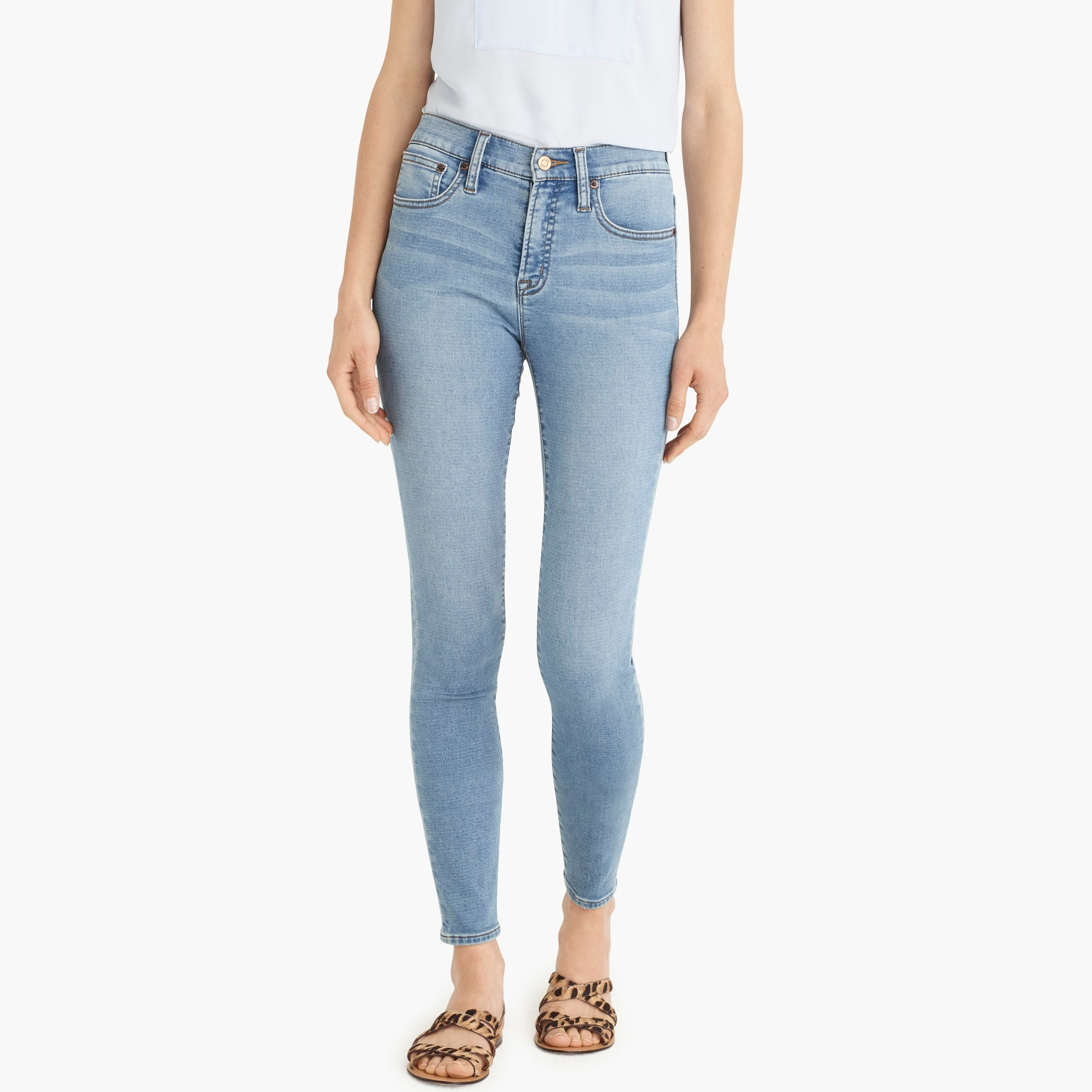"Image 1 for Tall 9"" high-rise jeggings in light blue wash"
