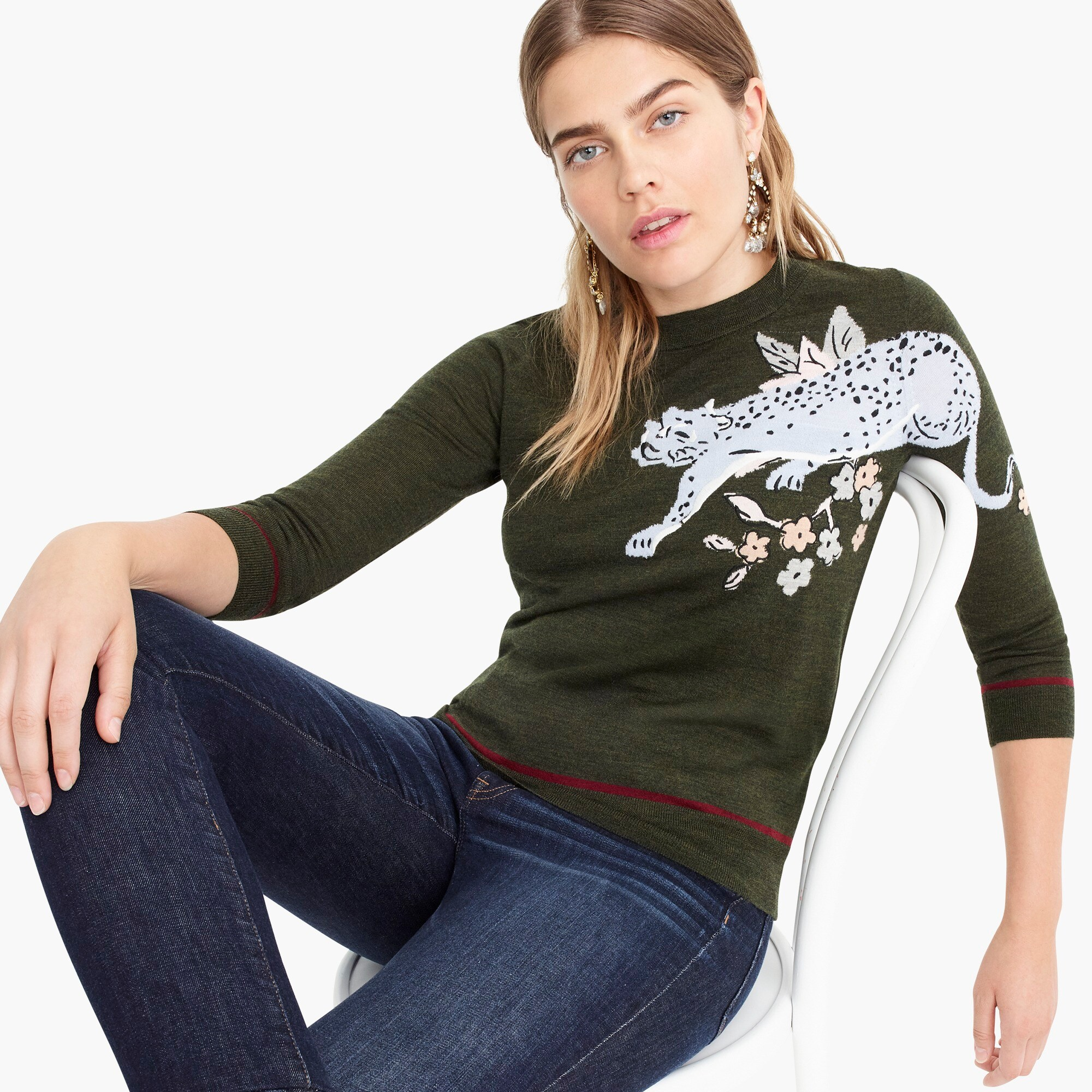 tippi sweater with intarsia cheetah : women pullovers