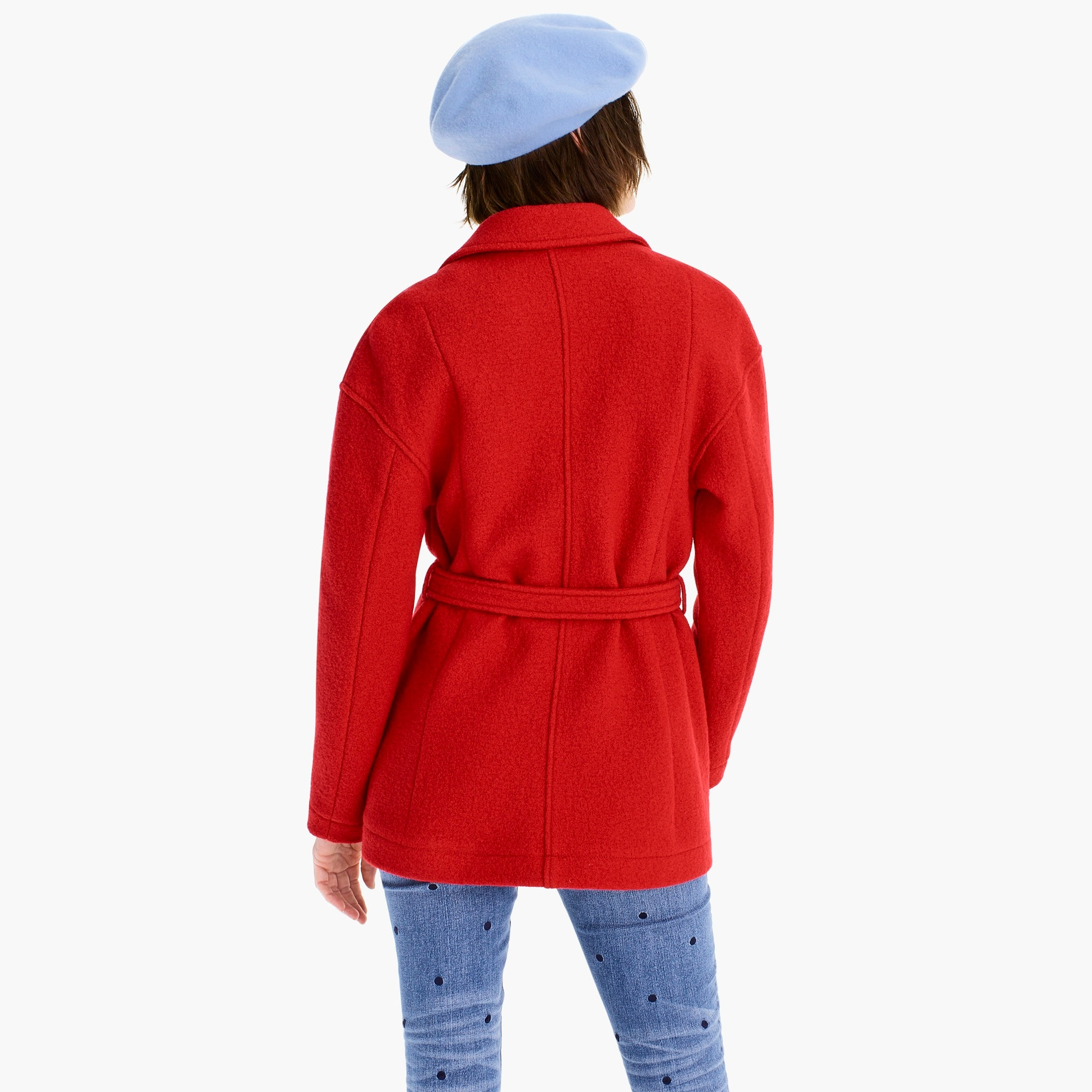 Camille short wrap coat in Italian boiled wool