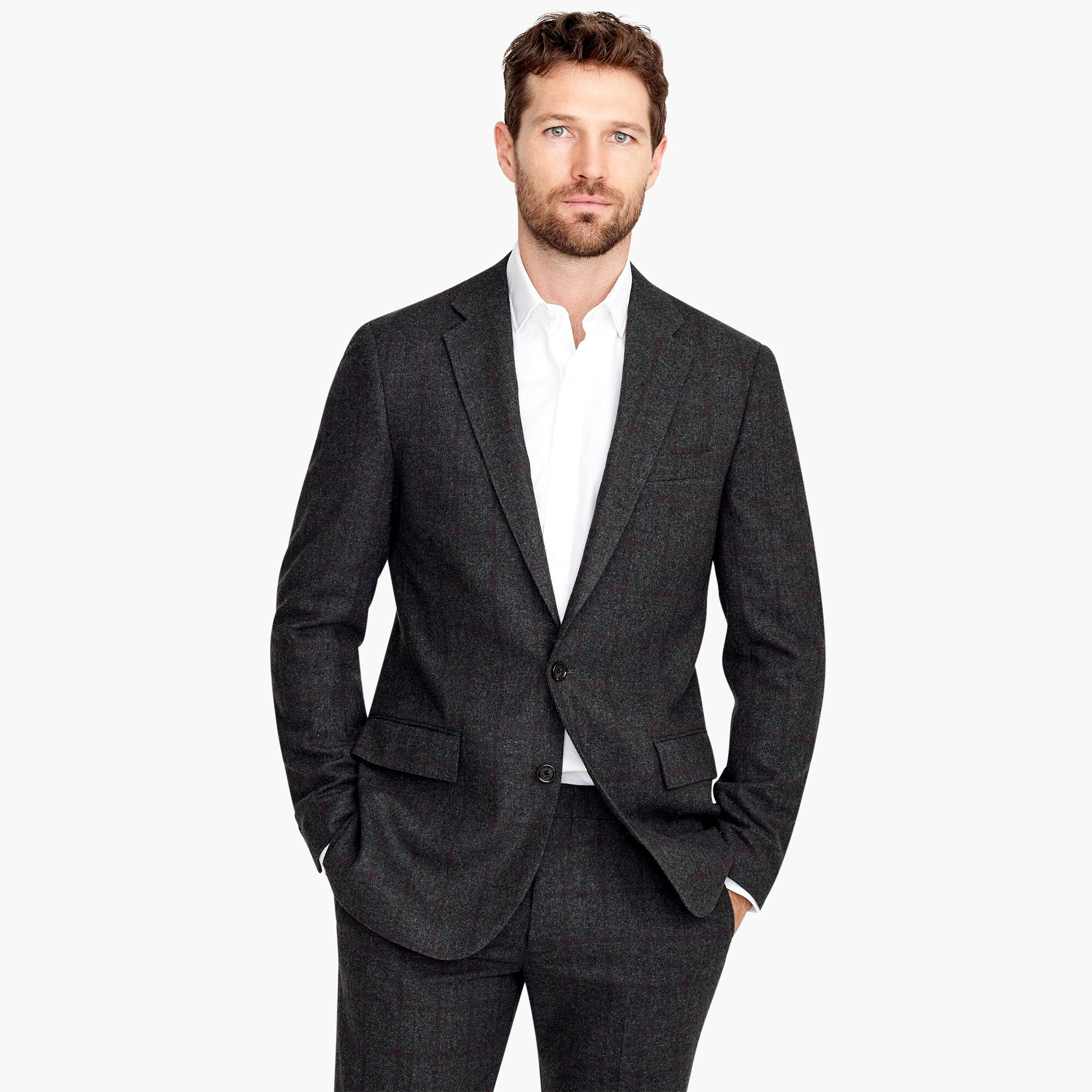 mens Ludlow Slim-fit blazer in bold windowpane wool bend