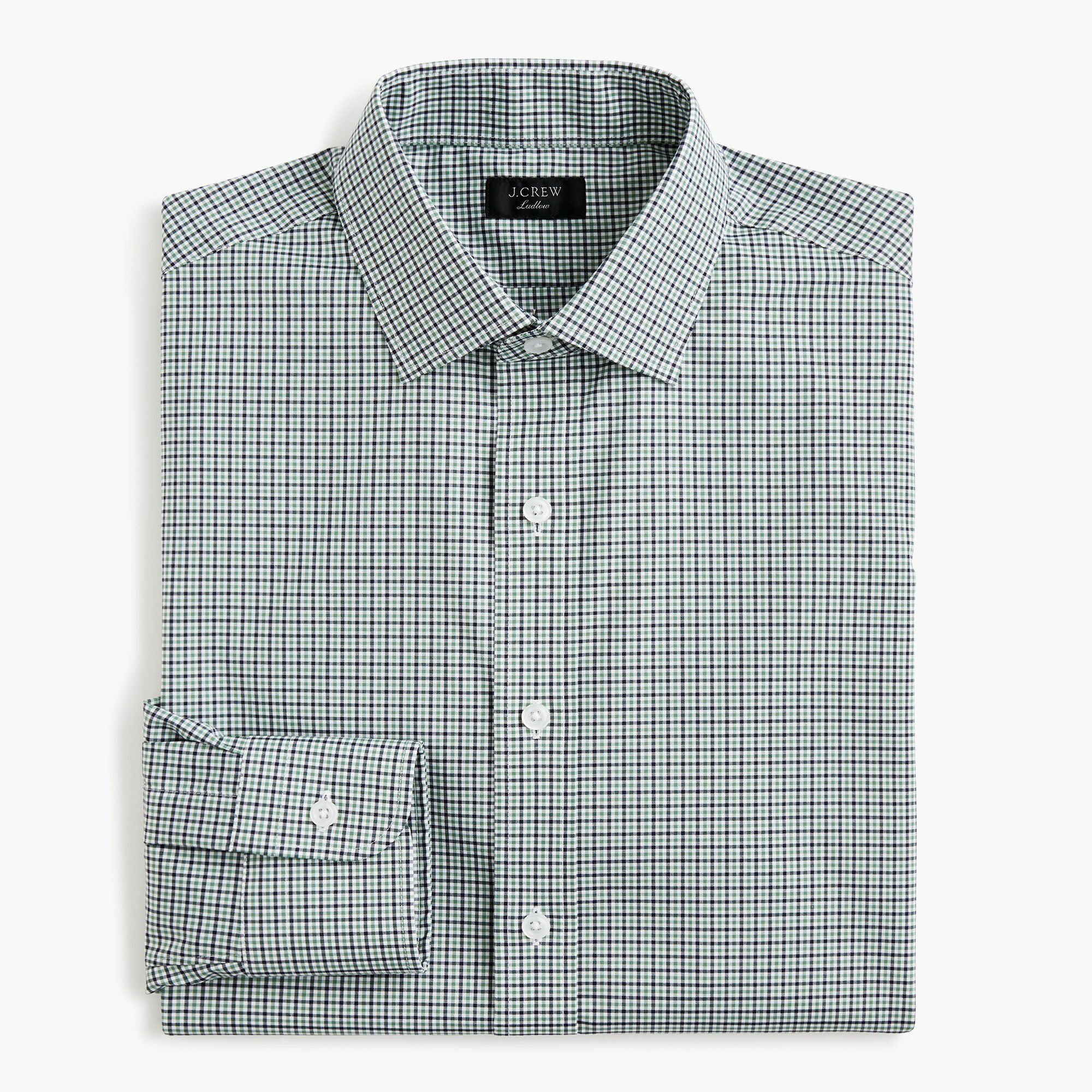 mens Ludlow stretch two-ply easy-care cotton dress shirt in blue tattersall