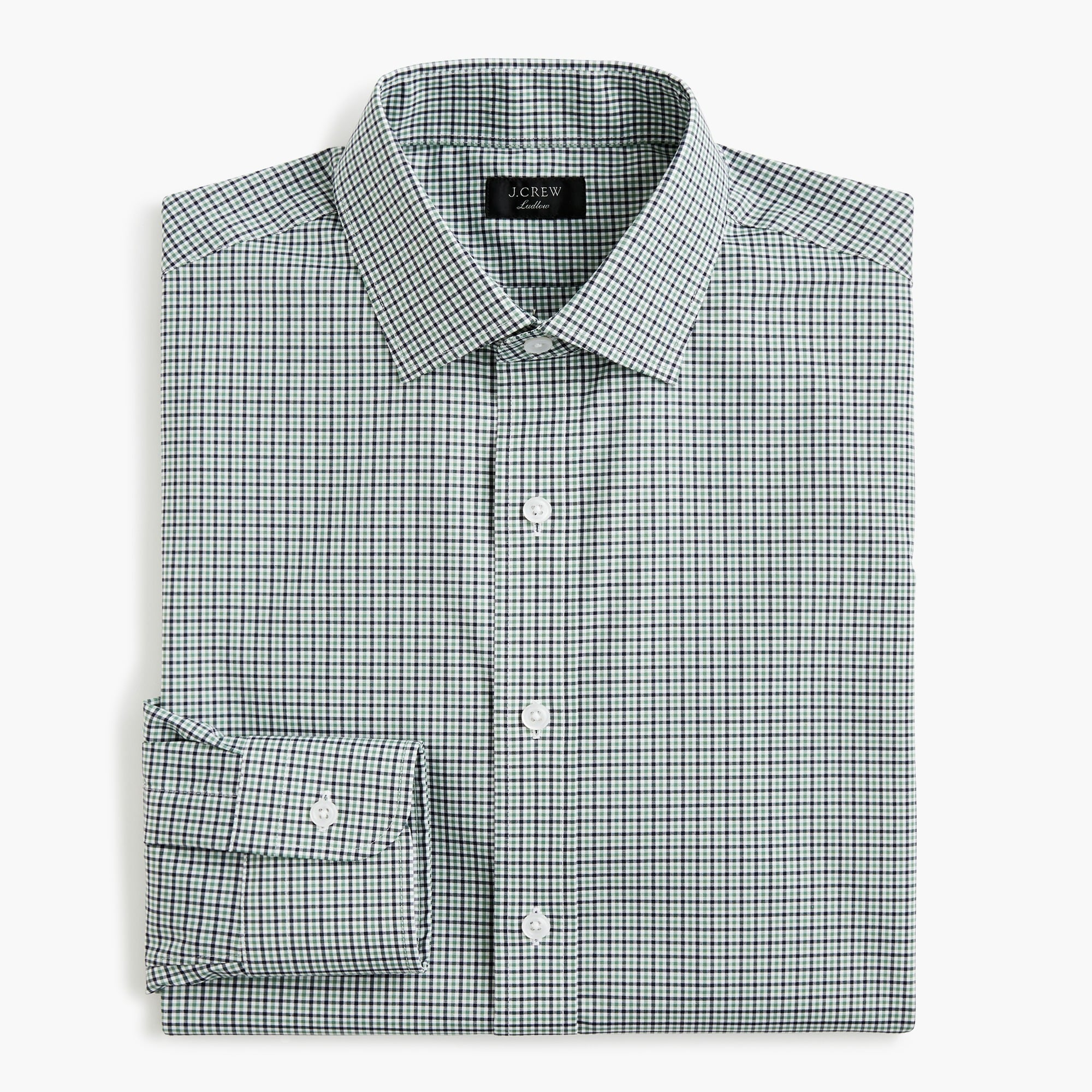 mens Ludlow Slim-fit stretch two-ply easy-care cotton dress shirt in blue tattersall