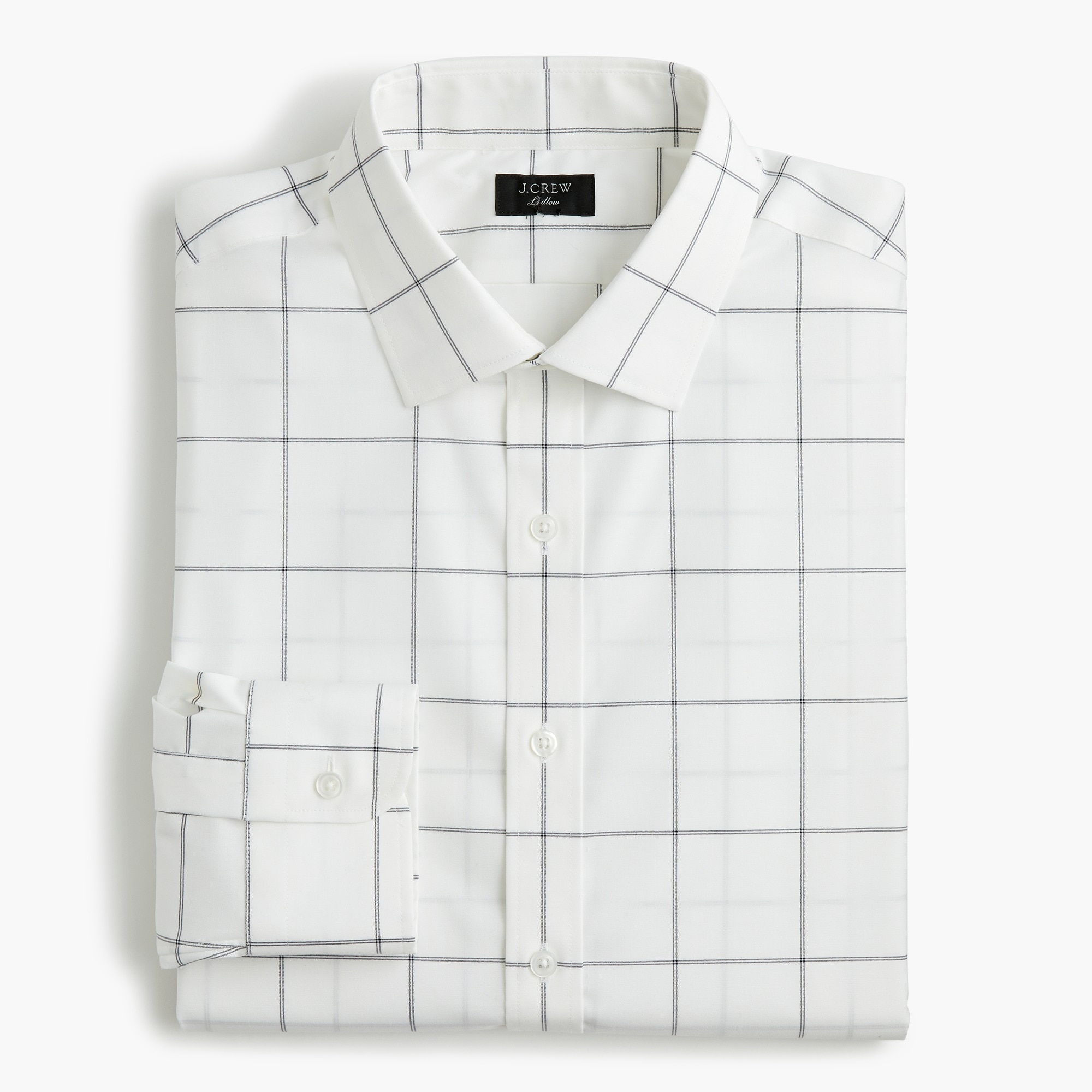 mens Ludlow Slim-fit stretch two-ply easy-care cotton dress shirt in windowpane