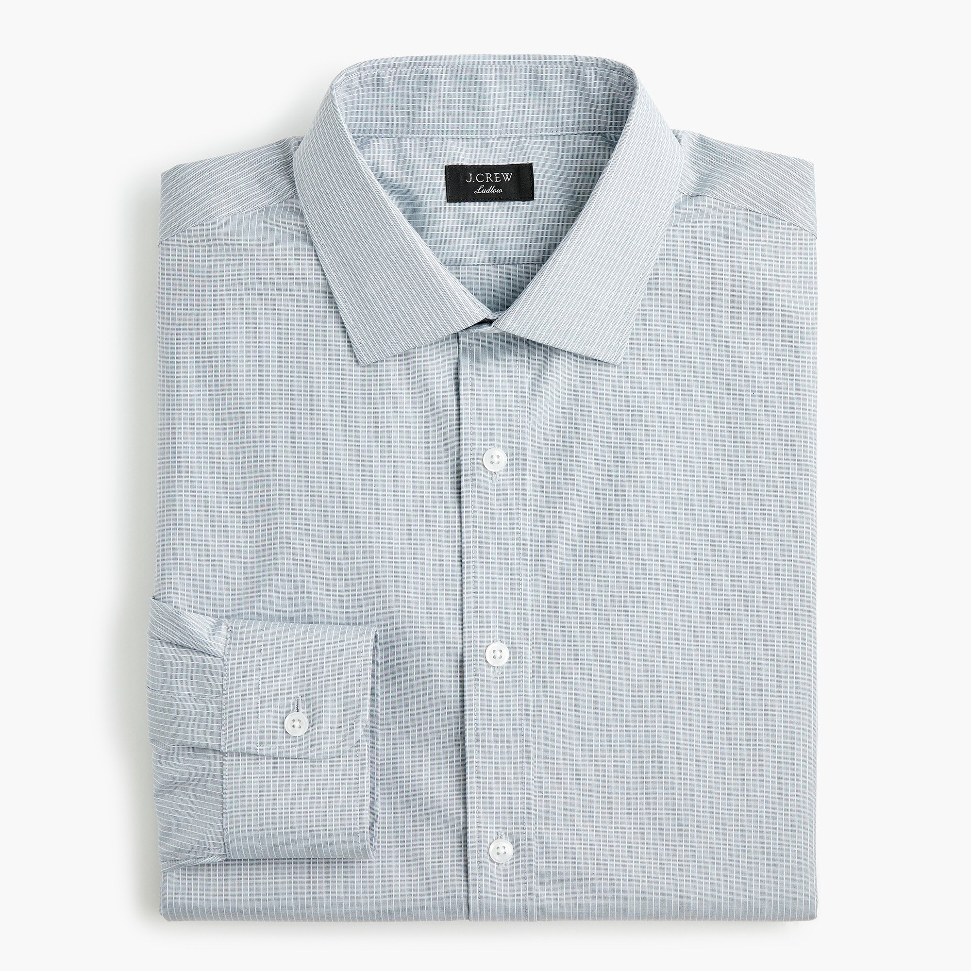 mens Ludlow Slim-fit stretch two-ply easy-care cotton dress shirt in sky blue