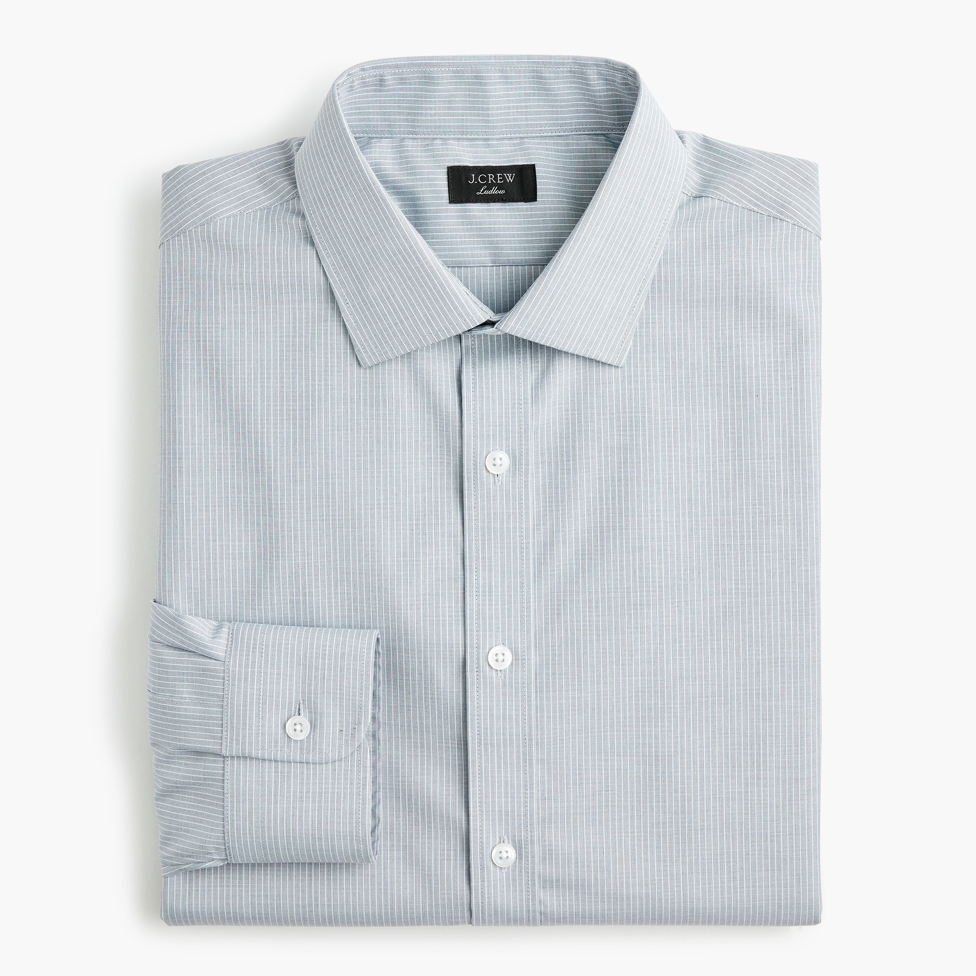 Ludlow Slim-fit stretch two-ply easy-care cotton dress shirt in stripe