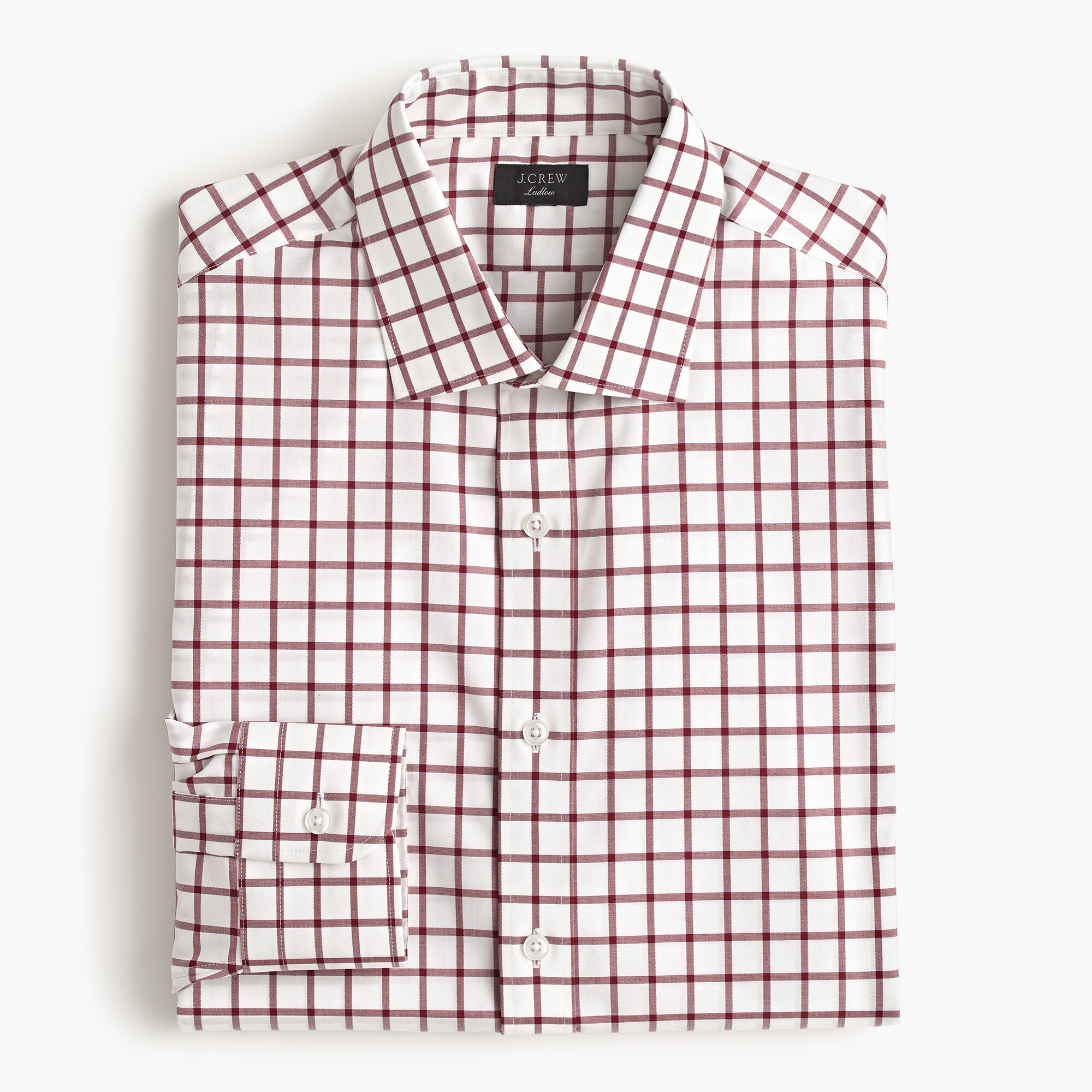 mens Ludlow stretch two-ply easy-care cotton dress shirt in mini windowpane