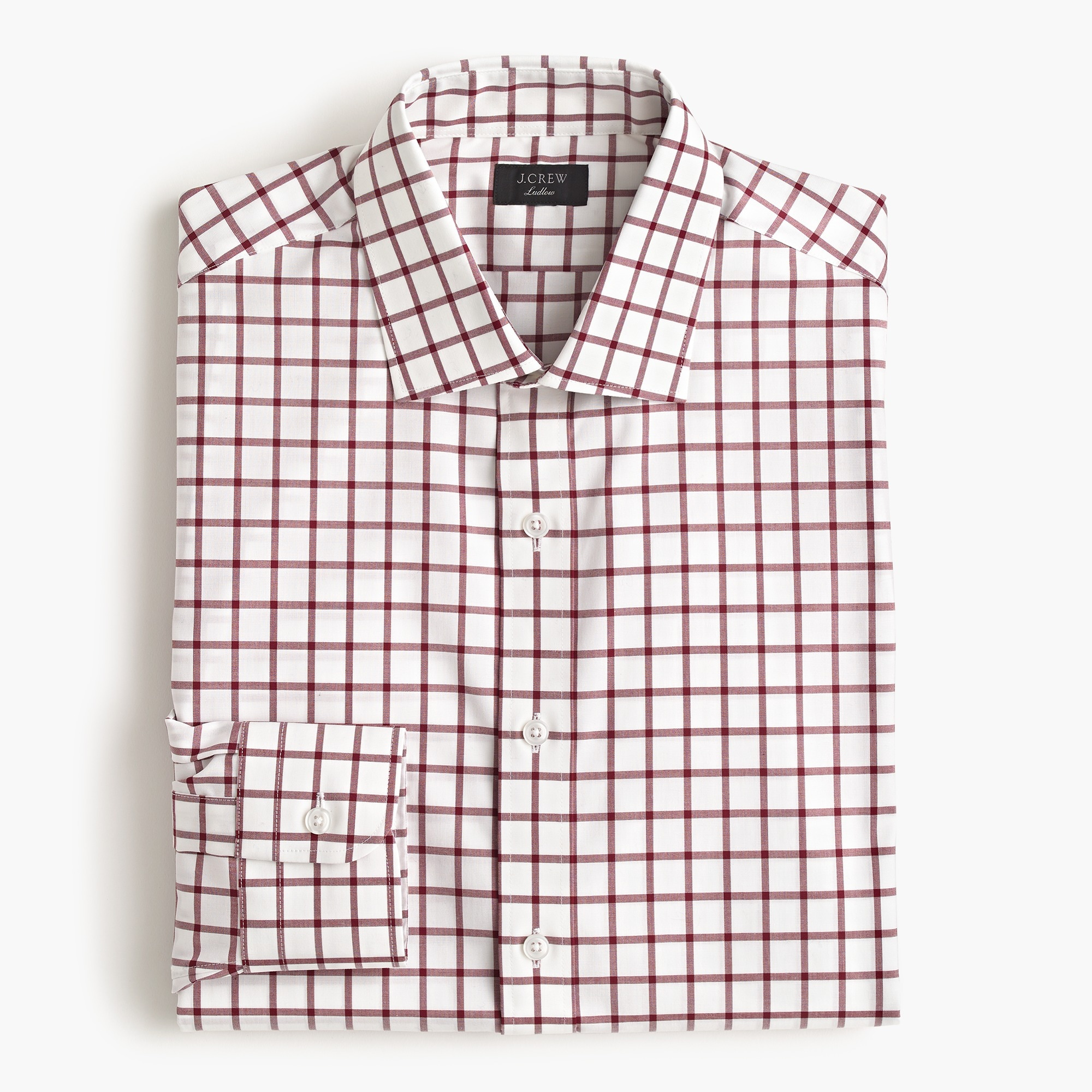 mens Ludlow slim-fit stretch two-ply easy-care cotton dress shirt in mini windowpane