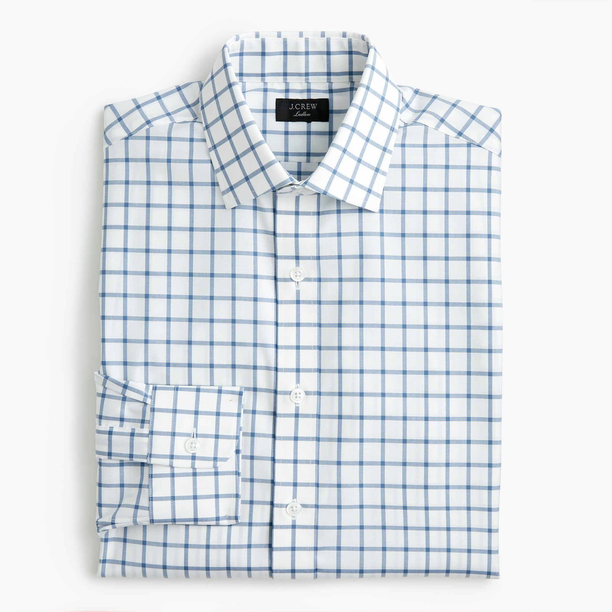 Ludlow slim-fit stretch two-ply easy-care cotton dress shirt in mini windowpane