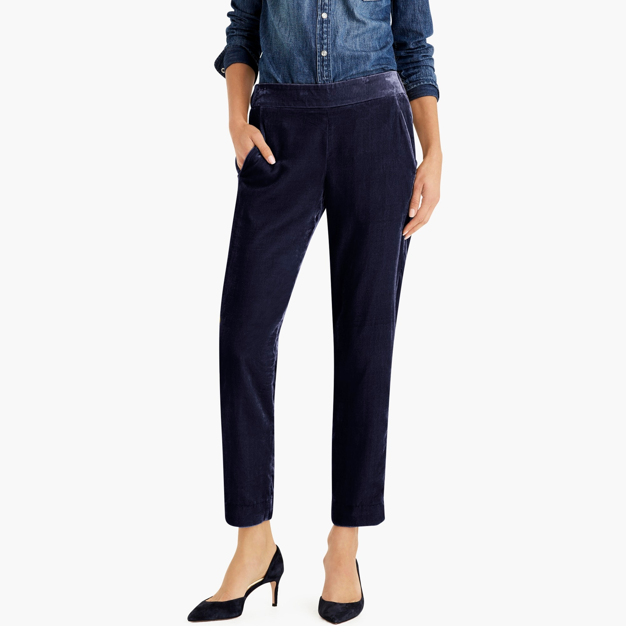 womens Petite pull-on easy pant in velvet