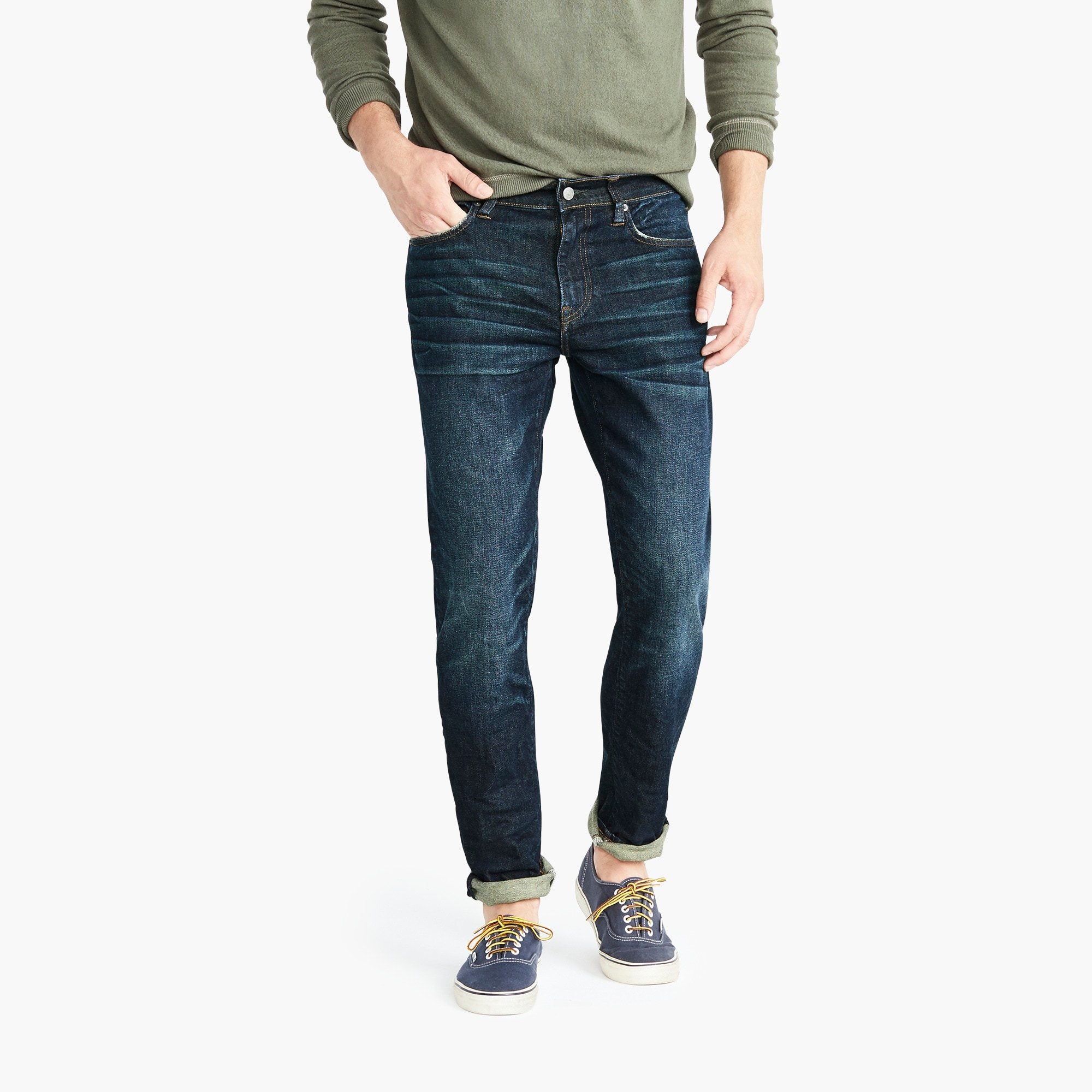mens 484 Slim-fit jean in stretch dark worn in Japanese denim