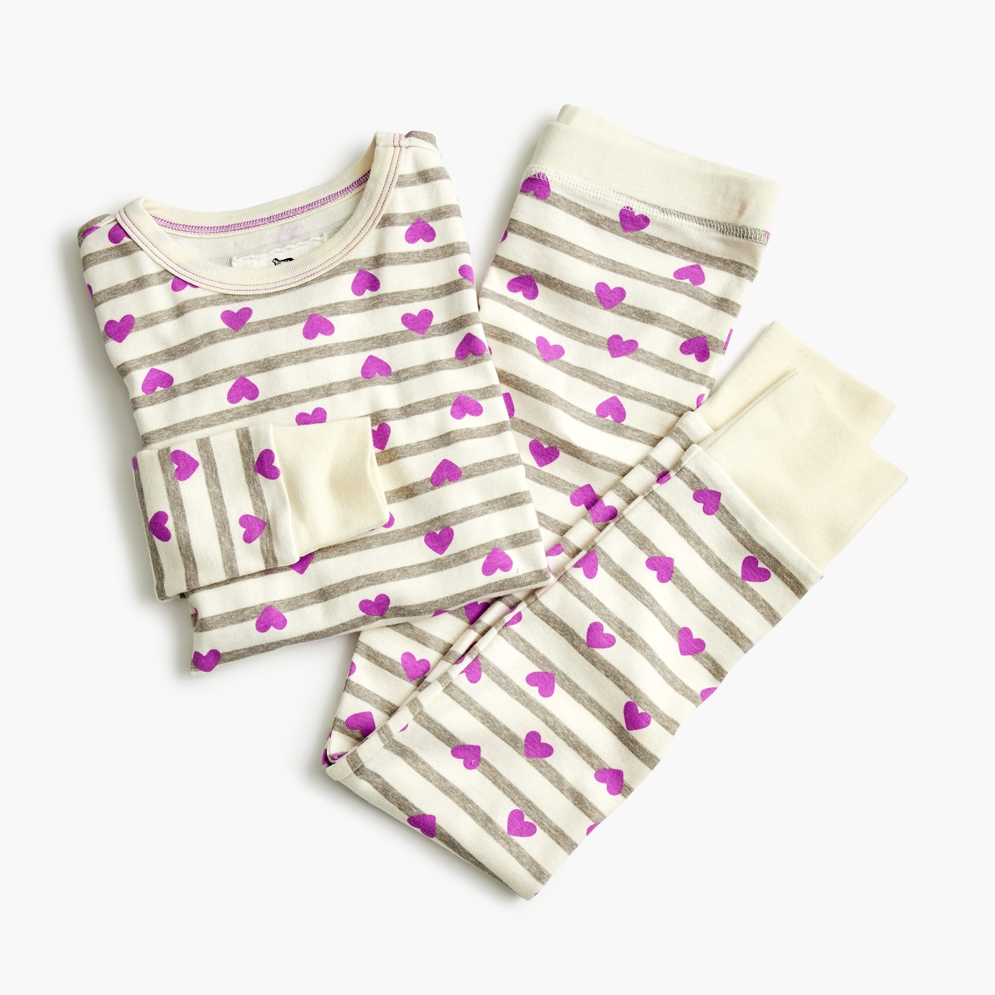 Girls' pajama set in hearts and stripes
