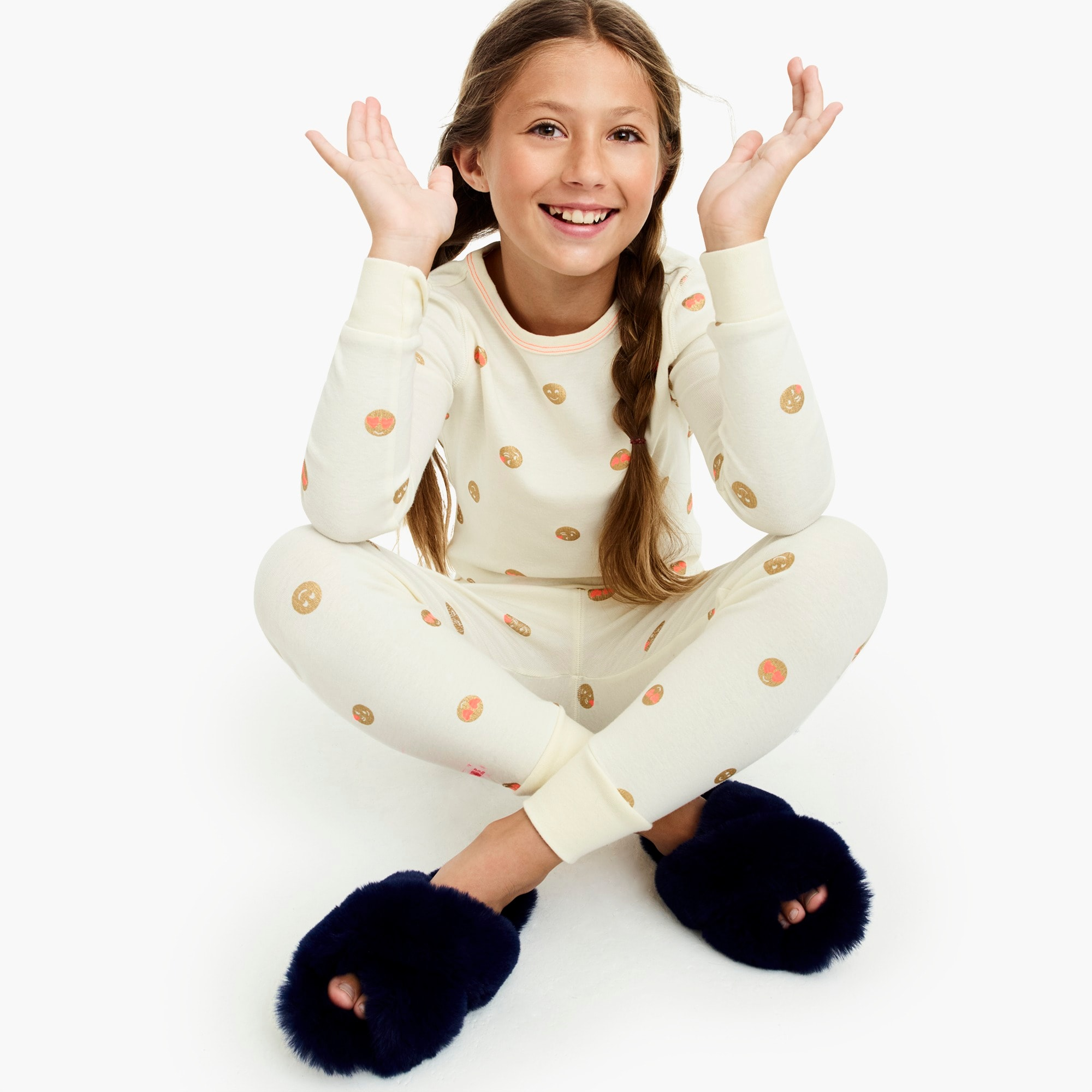 girls Girls' pajama set in emoji print