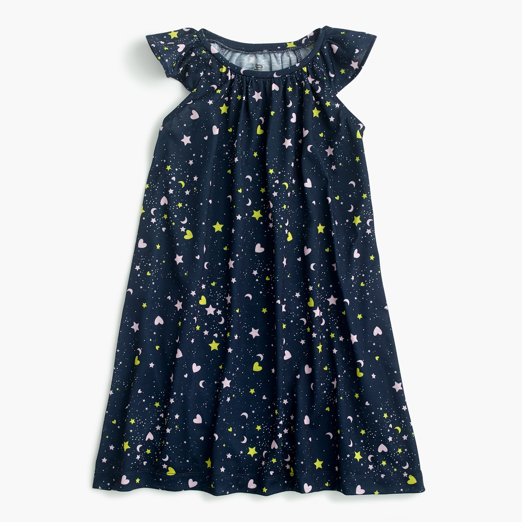 Girls' flutter-sleeve nightgown in hearts and stars