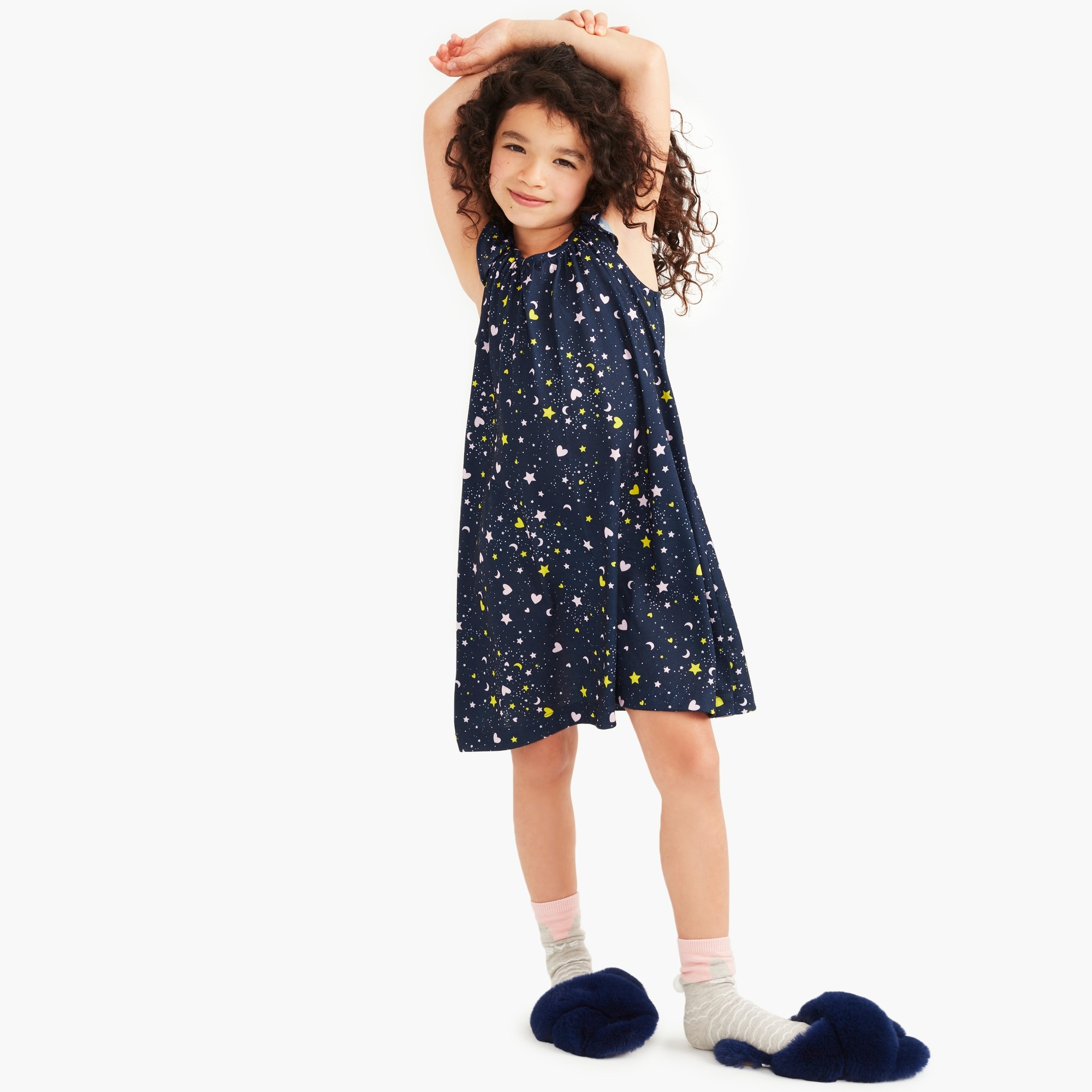 Image 1 for Girls' flutter-sleeve nightgown in hearts and stars