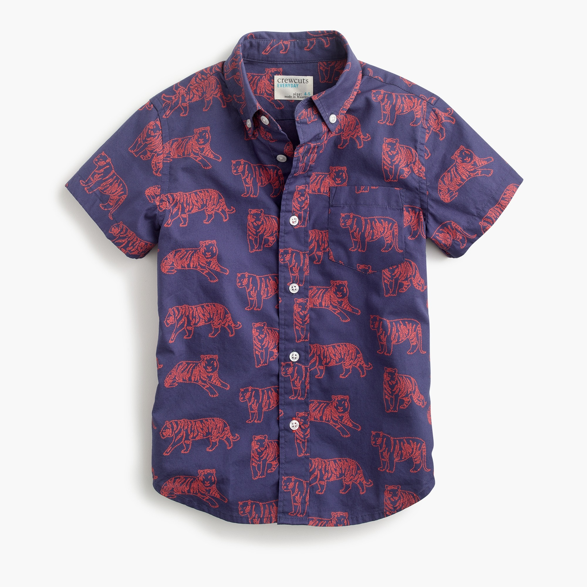 Boys' short-sleeve Secret Wash shirt in tigers