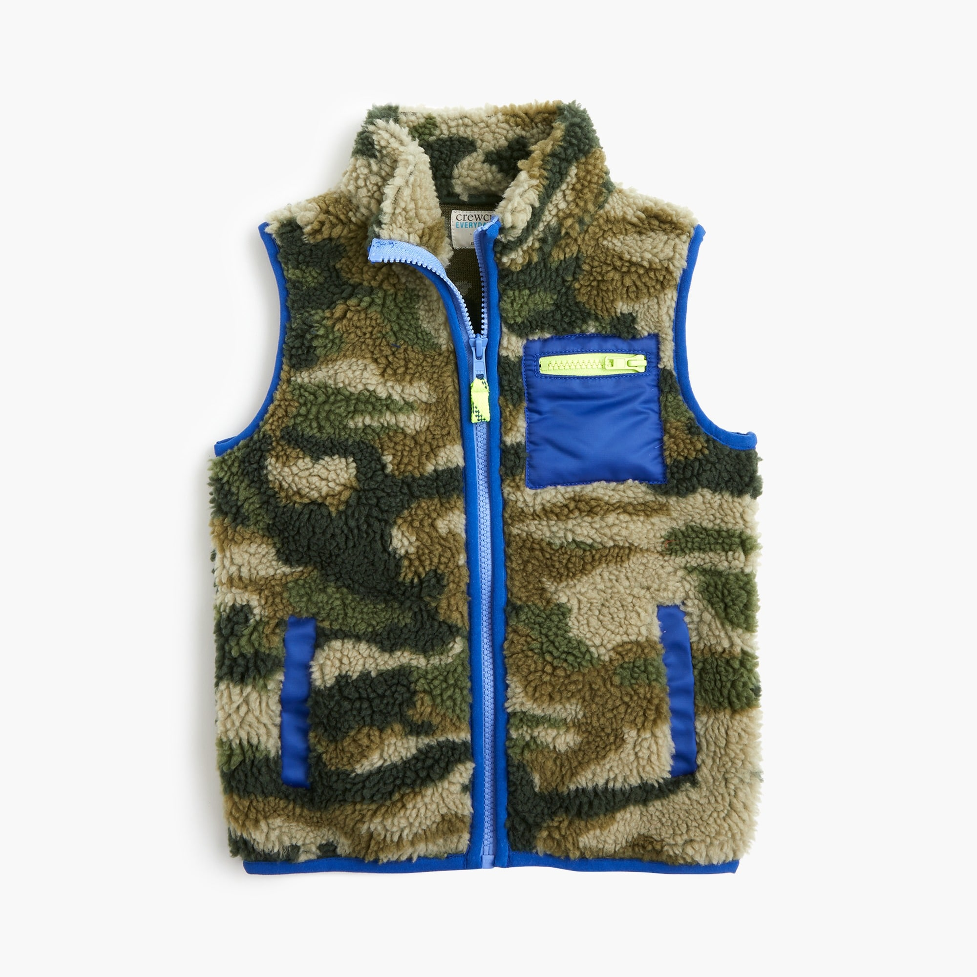Boys' sherpa vest in camo