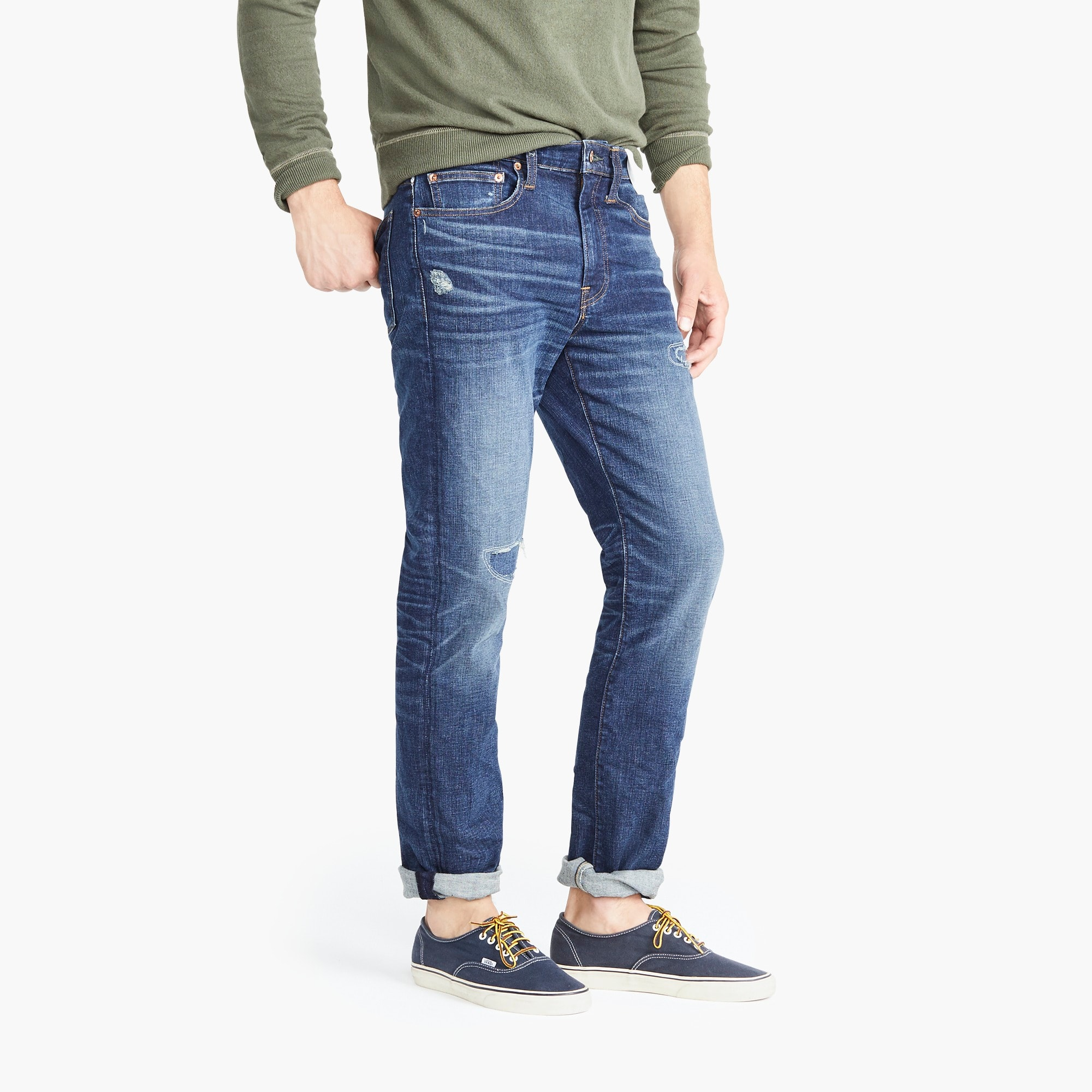 770 Straight-fit stretch rip and repair jean in Cone denim