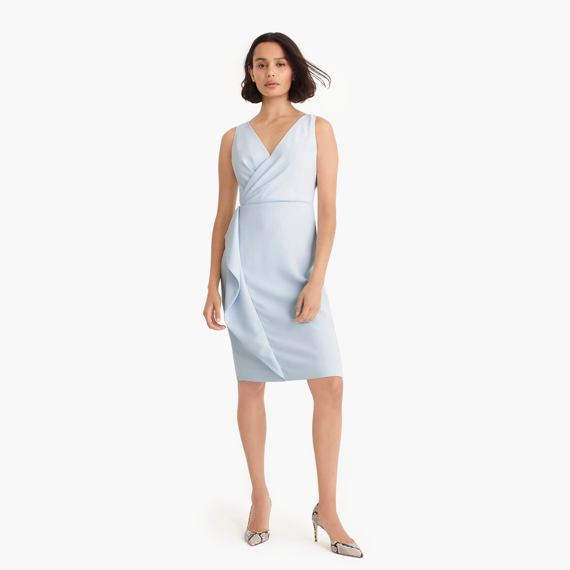 Side-sash dress in 365 crepe