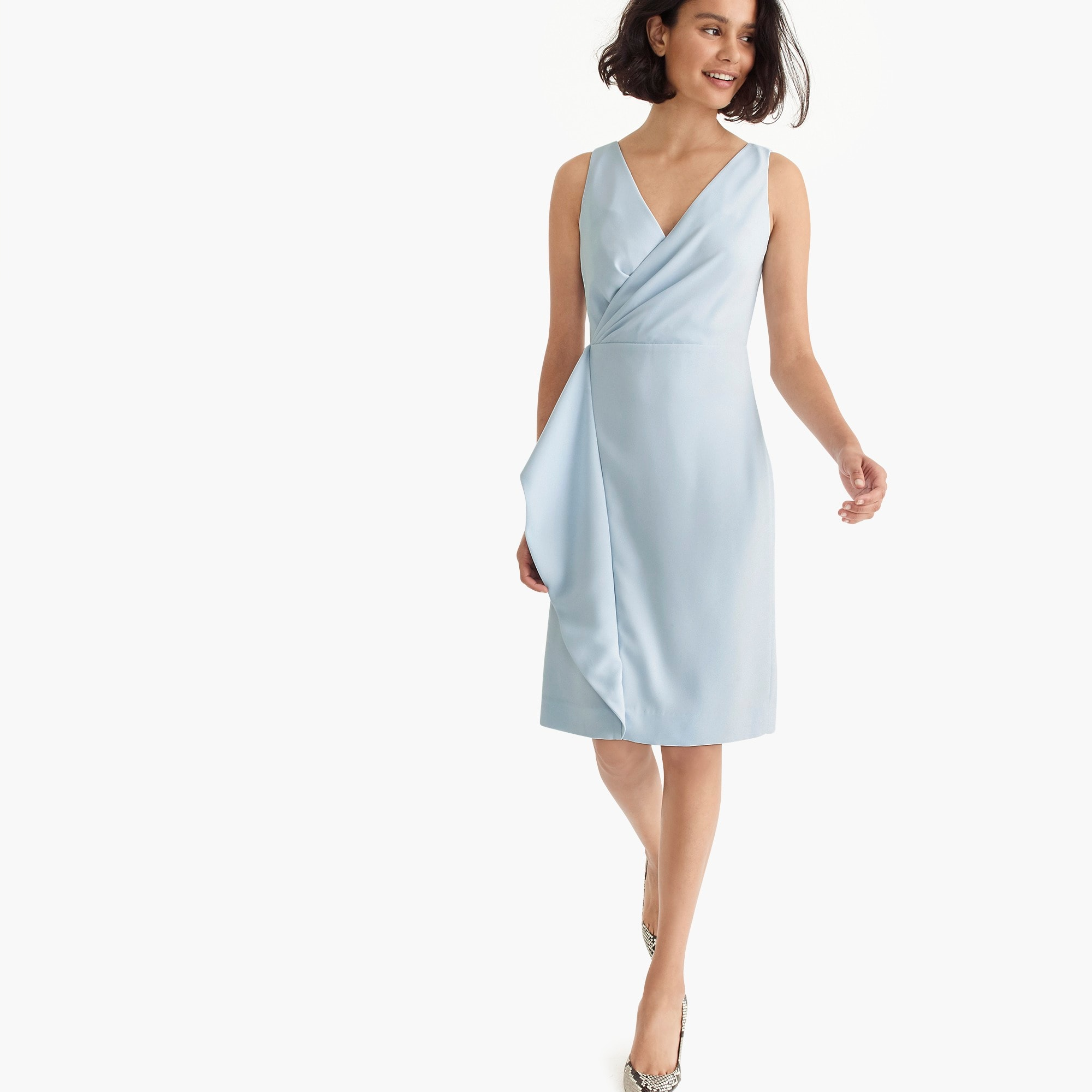 womens Side-sash dress in 365 crepe