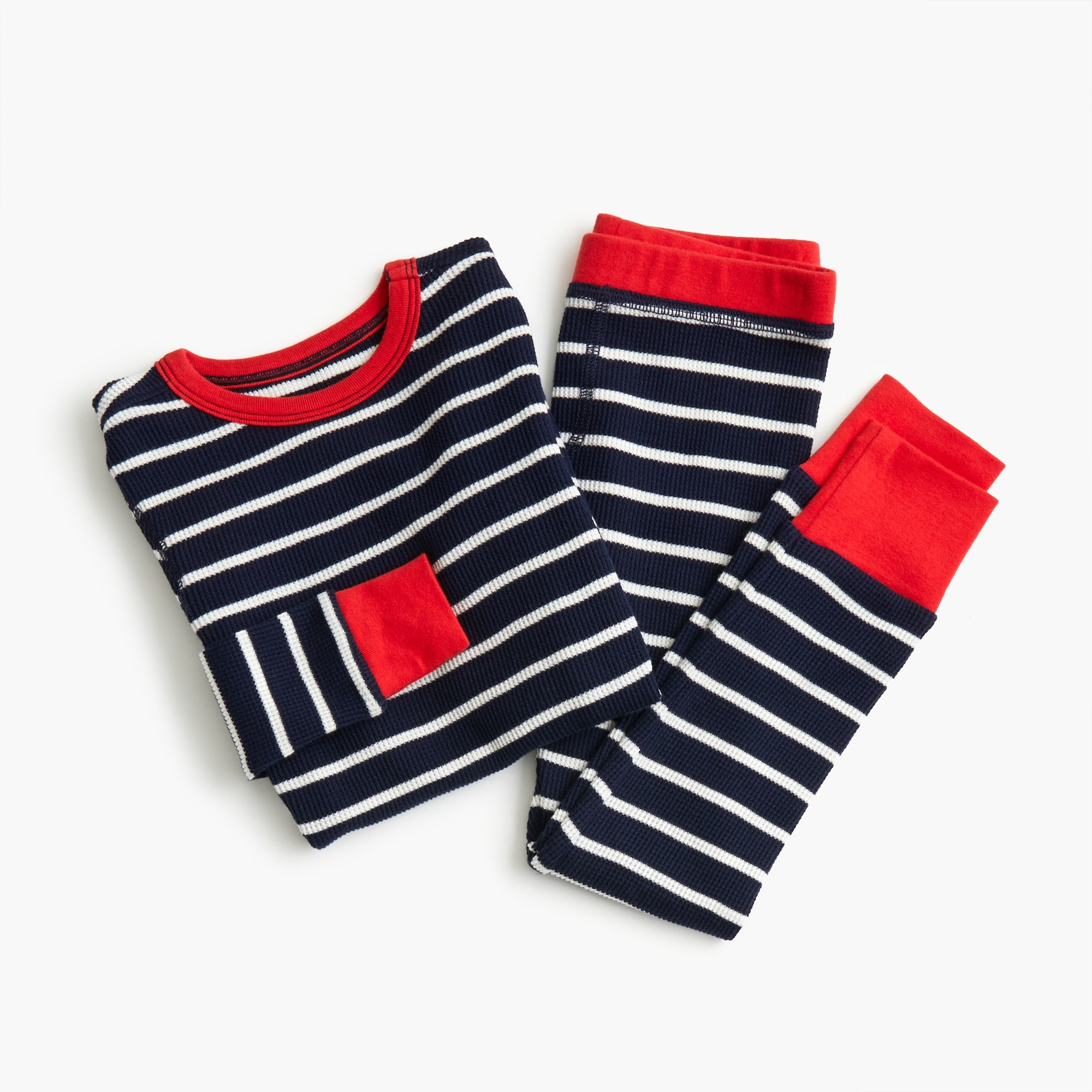 Image 3 for Kids' waffle-knit pajama set in stripes