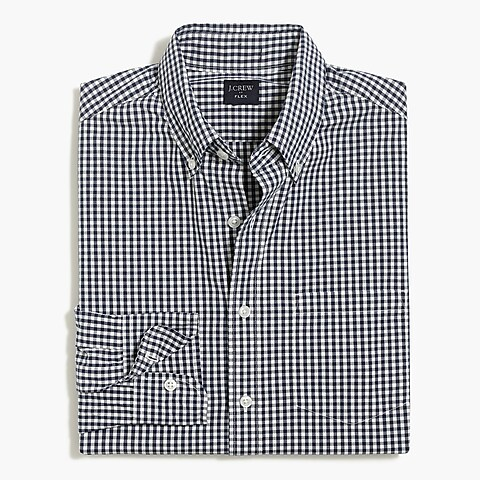 factory mens Slim flex washed shirt in small gingham