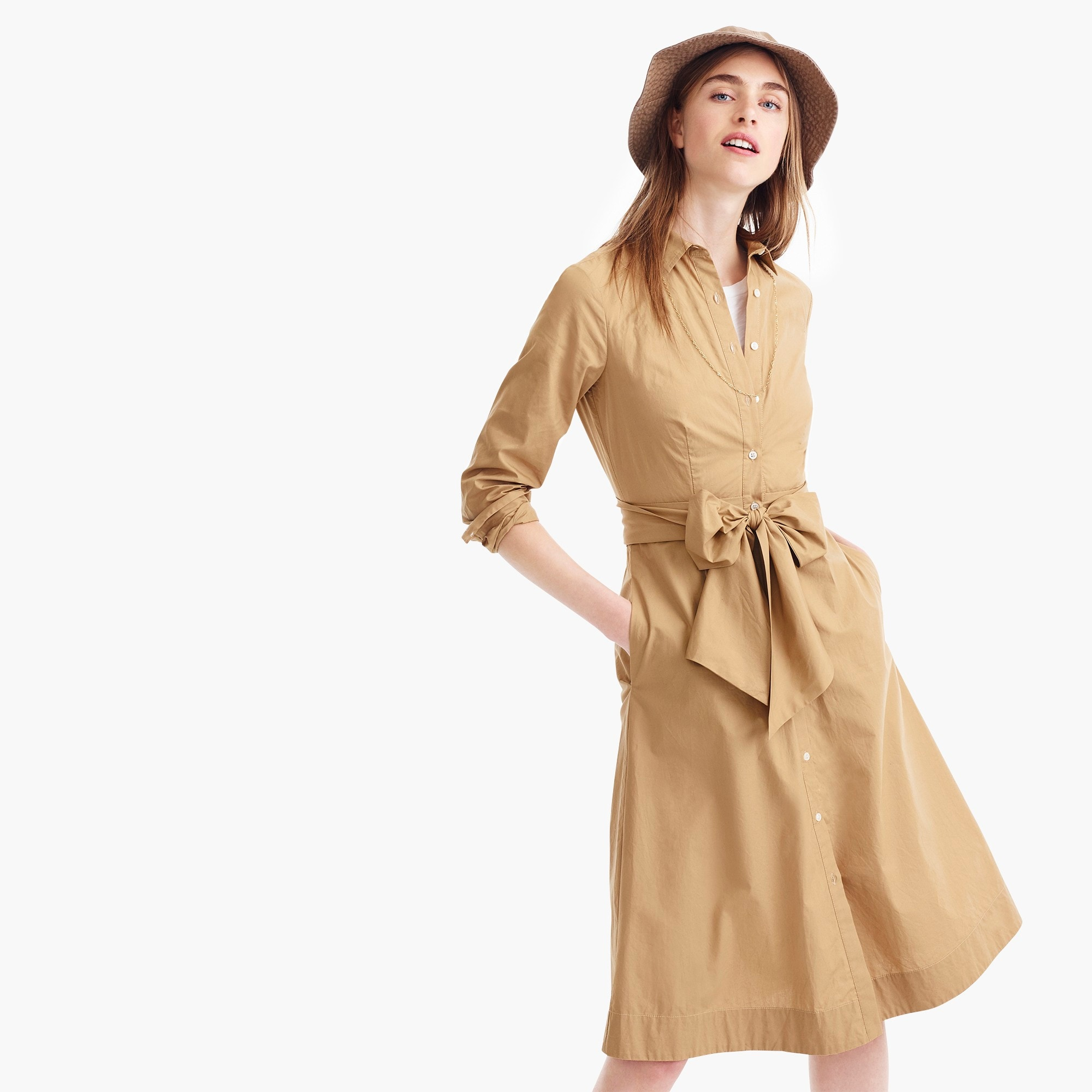 womens Tie-waist shirtdress in cotton poplin
